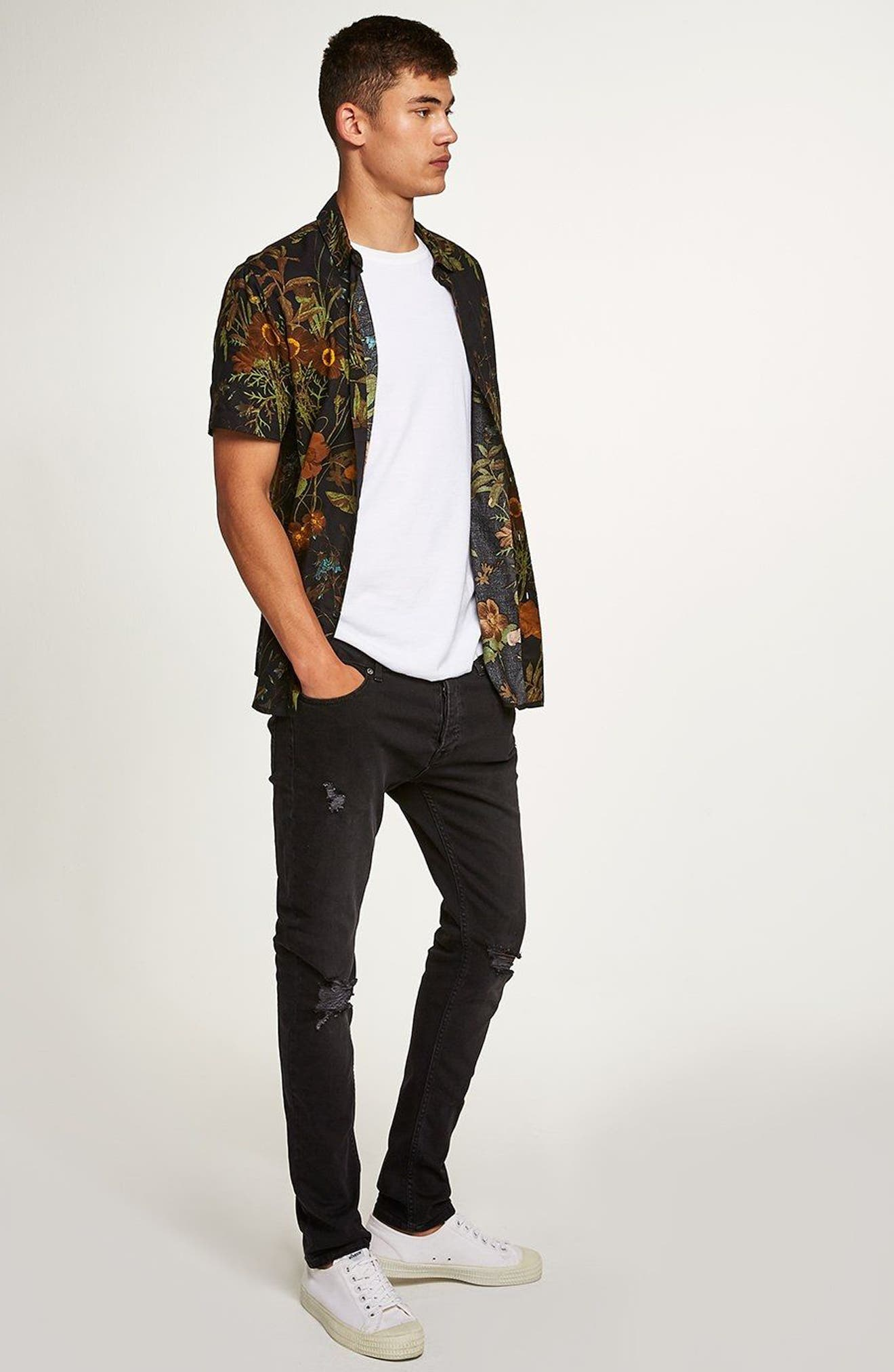 TOPMAN,                             Ripped Stretch Skinny Fit Jeans,                             Alternate thumbnail 8, color,                             001