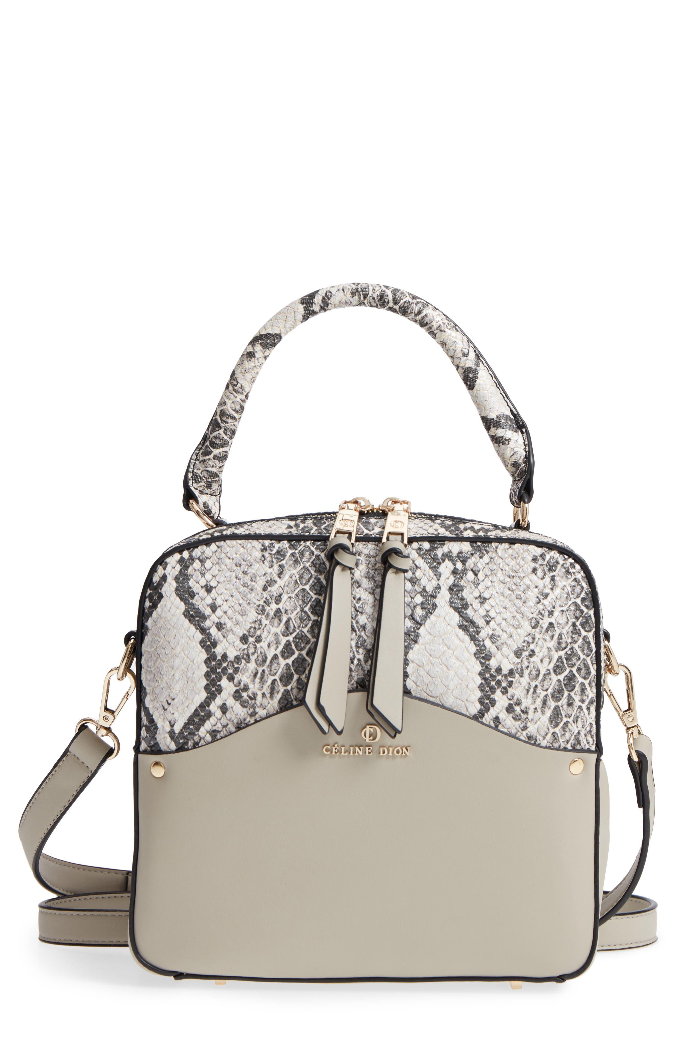 Céline Dion Motif Top Handle Leather Satchel,                             Main thumbnail 2, color,
