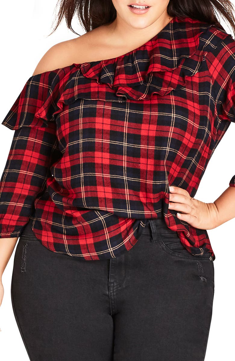 e98ae9a543435 City Chic Trendy Plus Size Plaid One-Shoulder Top In Flame Check ...