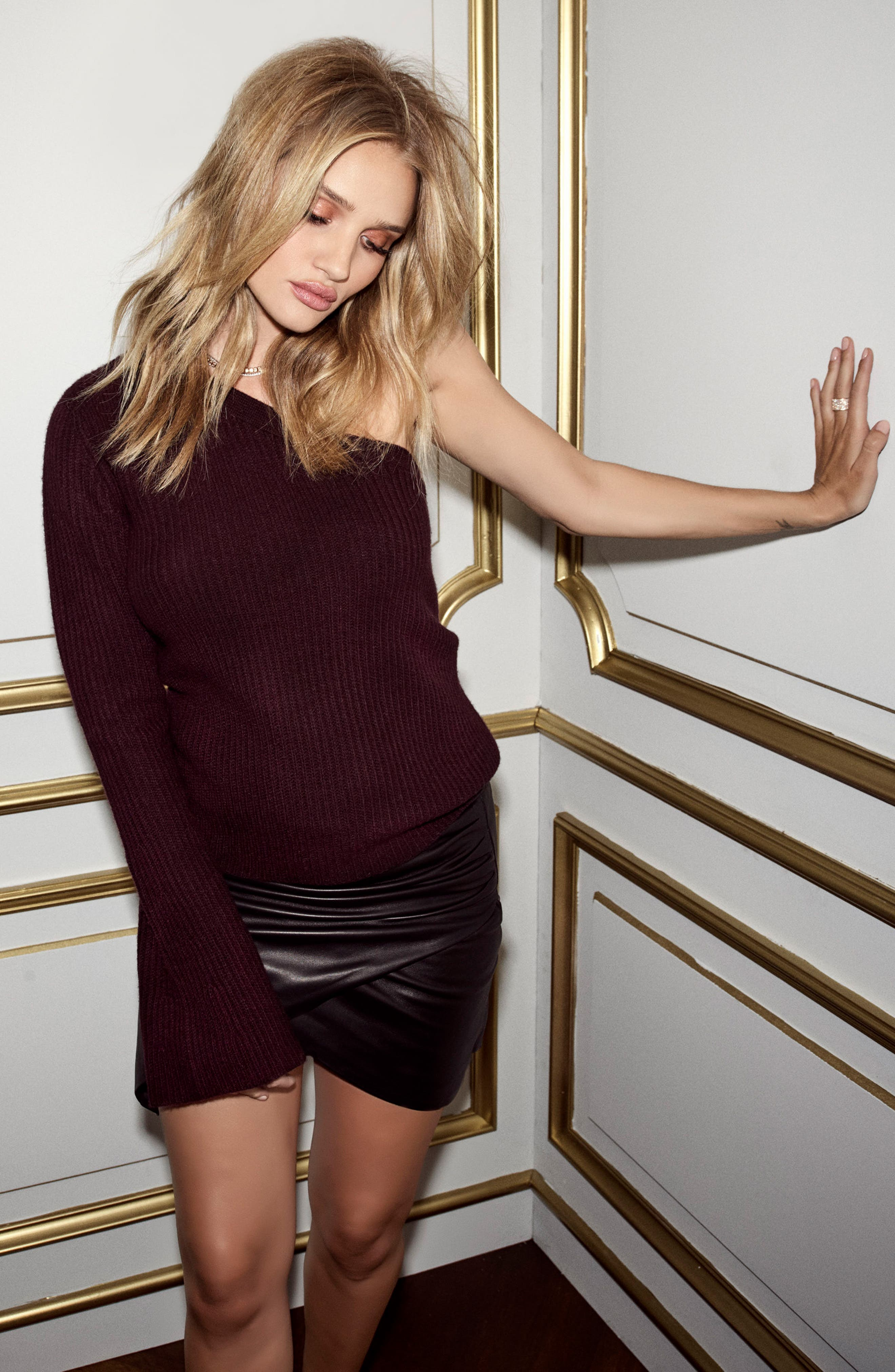Rosie HW x PAIGE Hadlee One-Shoulder Sweater,                             Alternate thumbnail 4, color,                             606