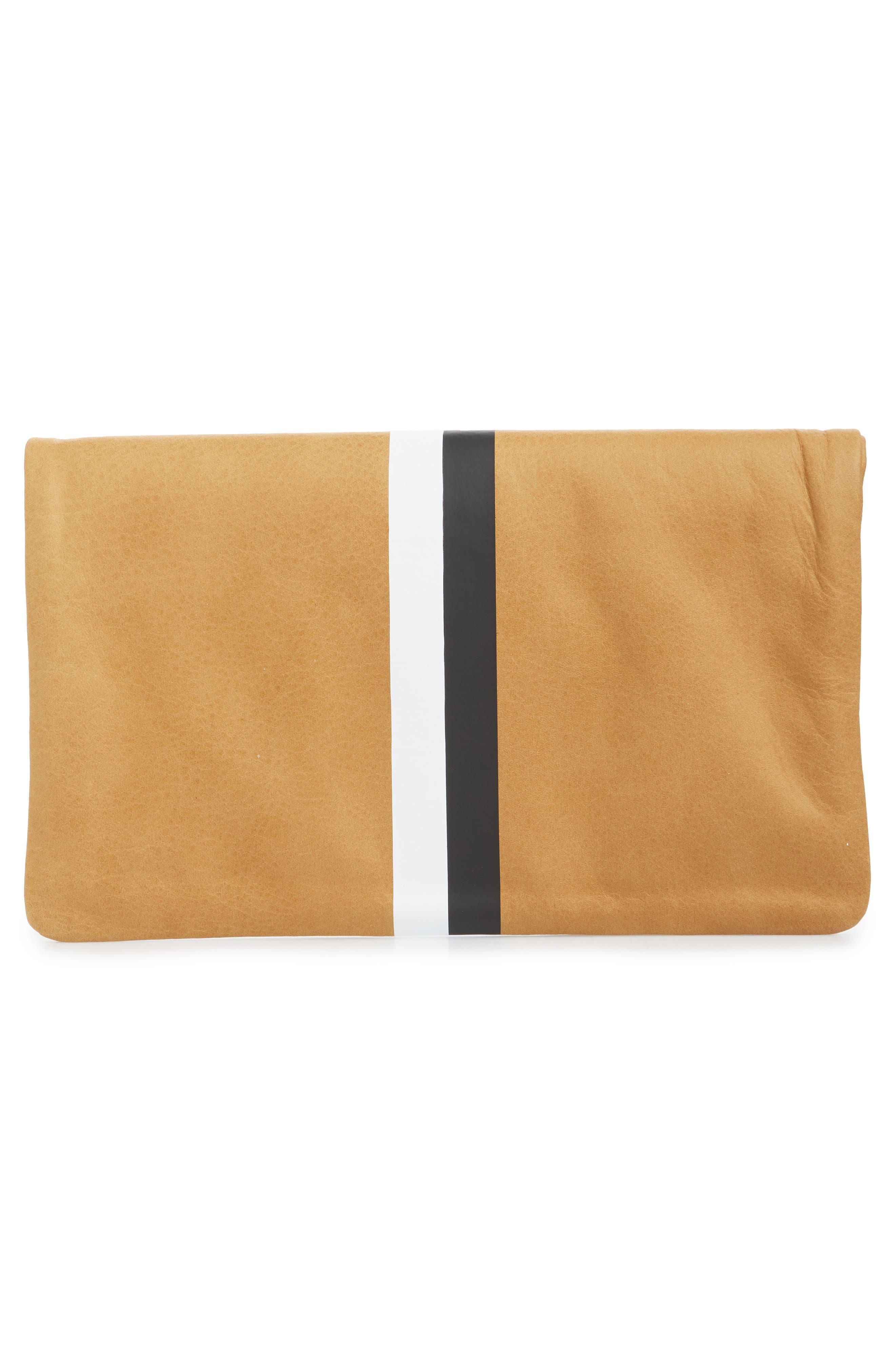 Center Stripe Leather Foldover Clutch,                             Alternate thumbnail 3, color,                             CAMEL