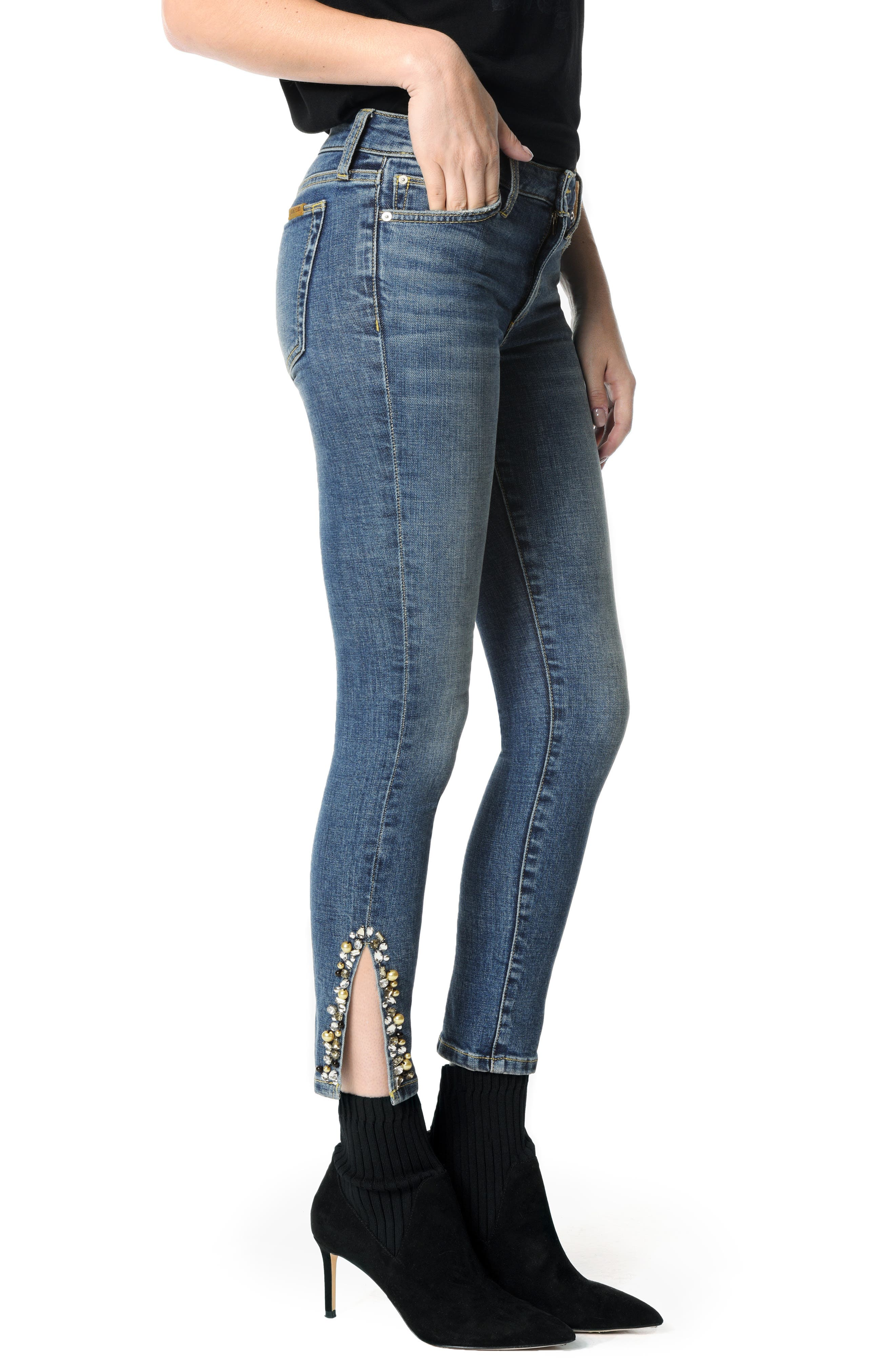 Icon Embellished Slit Ankle Skinny Jeans,                             Alternate thumbnail 3, color,                             CLEO