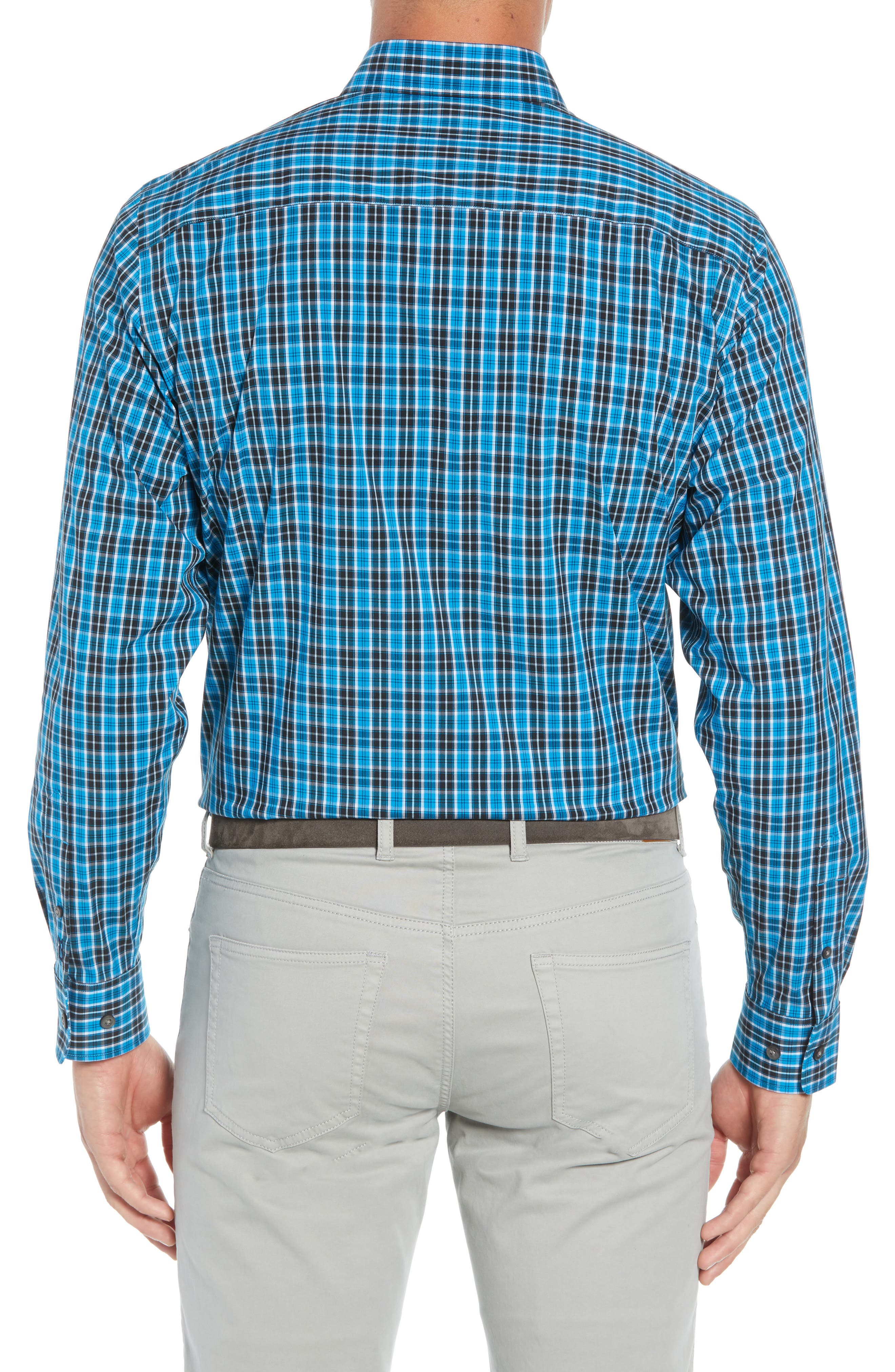 Ronald Regular Fit Plaid Performance Sport Shirt,                             Alternate thumbnail 3, color,                             ORBIT