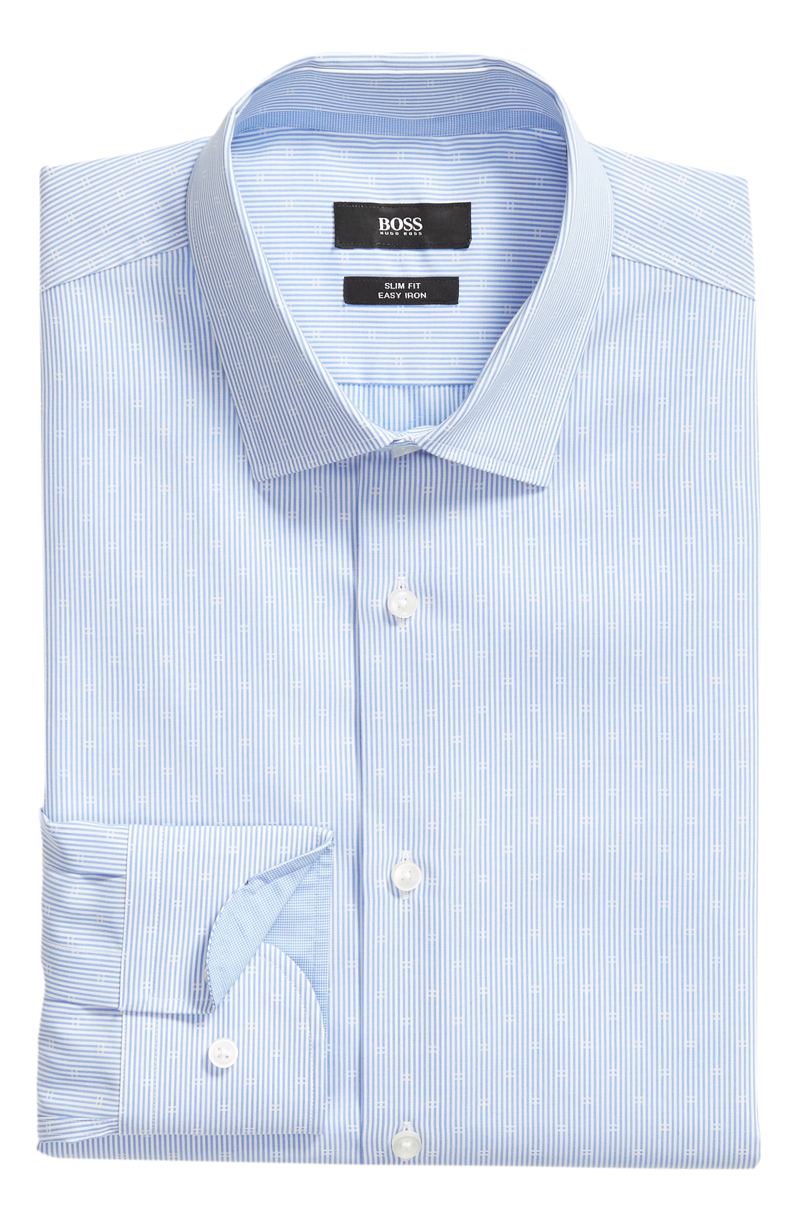 Jesse Slim Fit Stripe Dress Shirt,                             Alternate thumbnail 5, color,                             BLUE