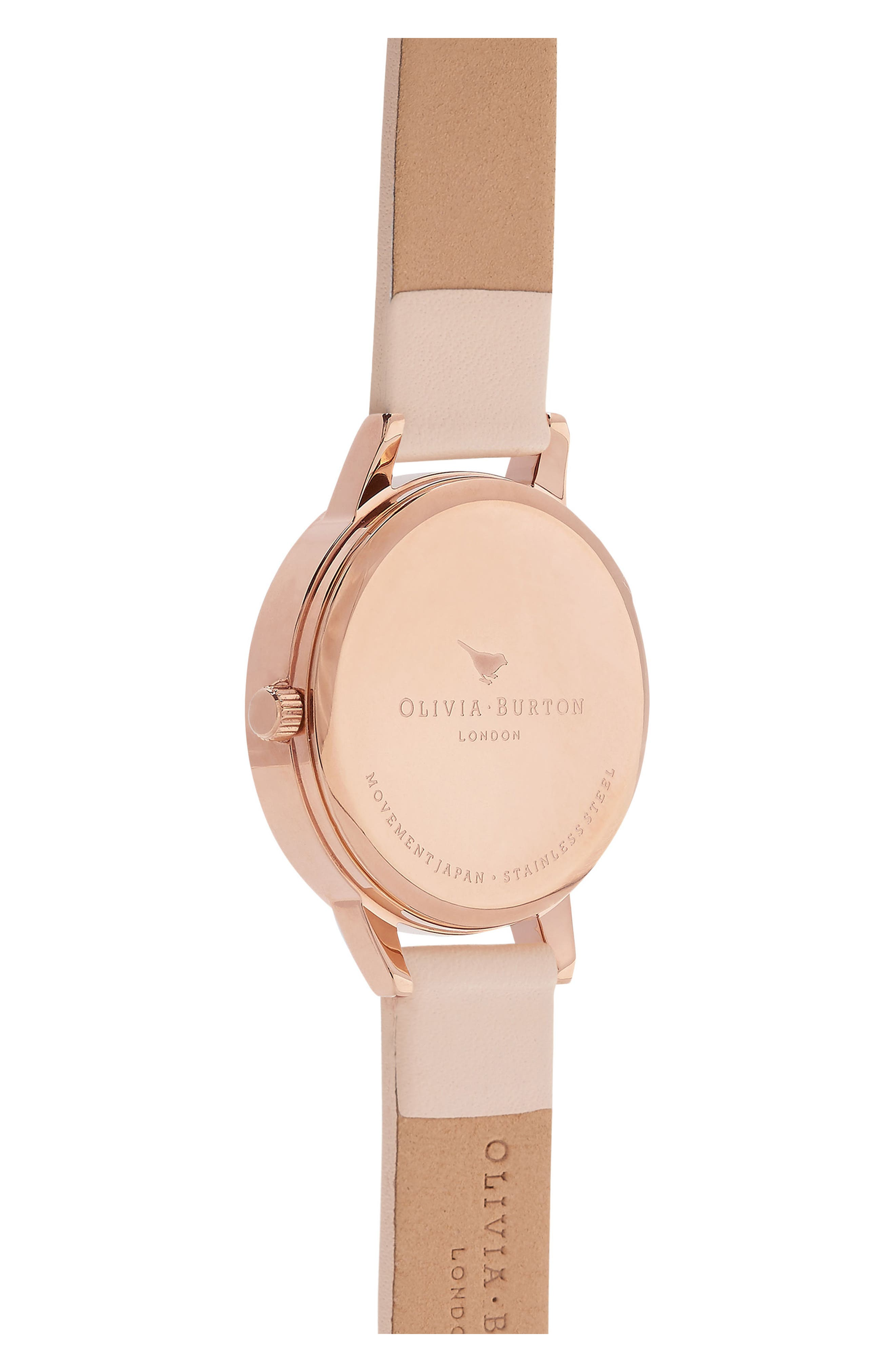 OLIVIA BURTON,                             Midi Dial Leather Strap Watch, 30mm,                             Alternate thumbnail 2, color,                             NUDE PEACH/ WHITE/ ROSE GOLD