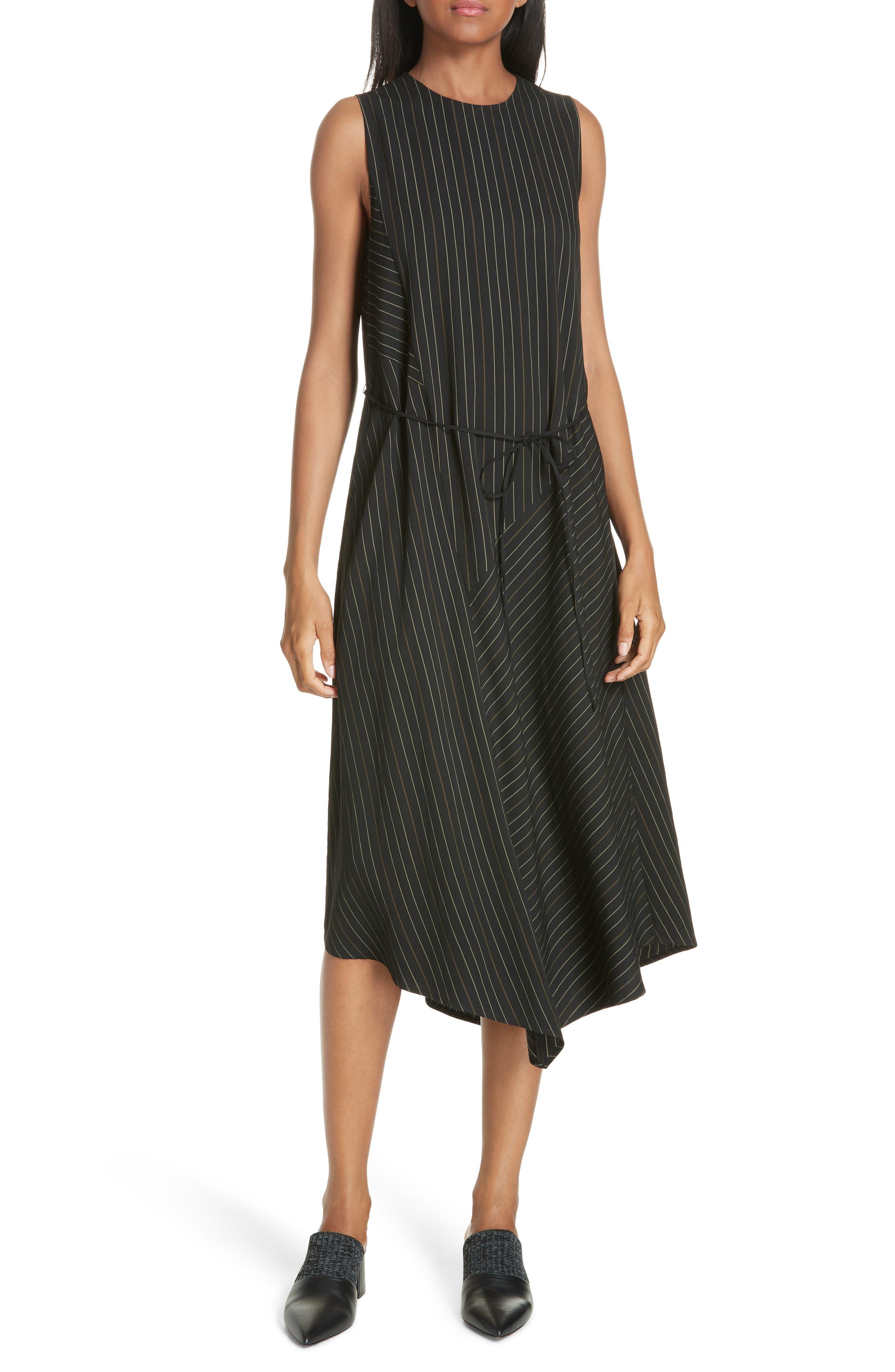 Bar Stripe Paneled Dress, Main, color, BLACK