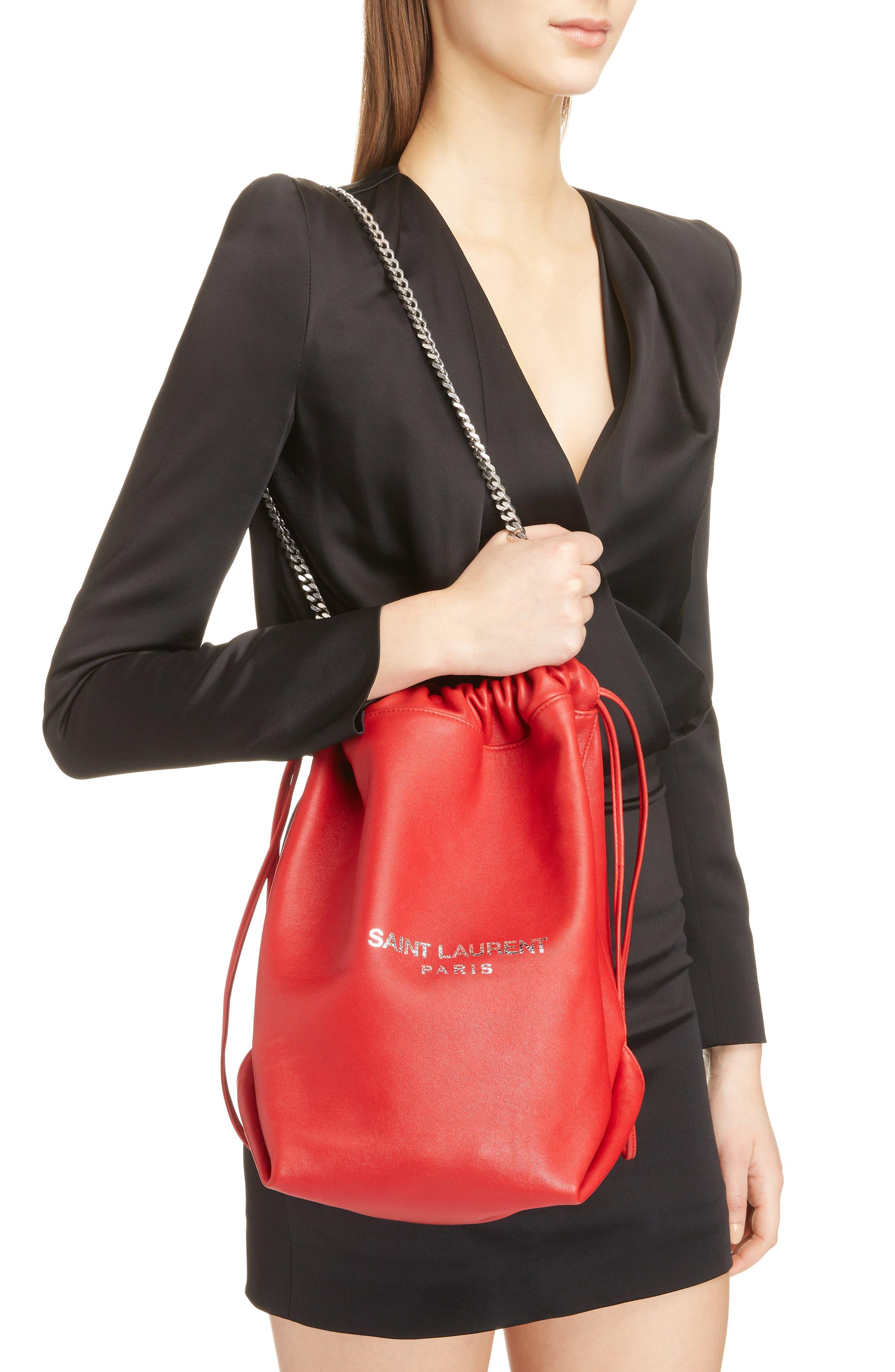 Teddy Leather Bucket Bag,                             Alternate thumbnail 2, color,                             ROUGE EROS