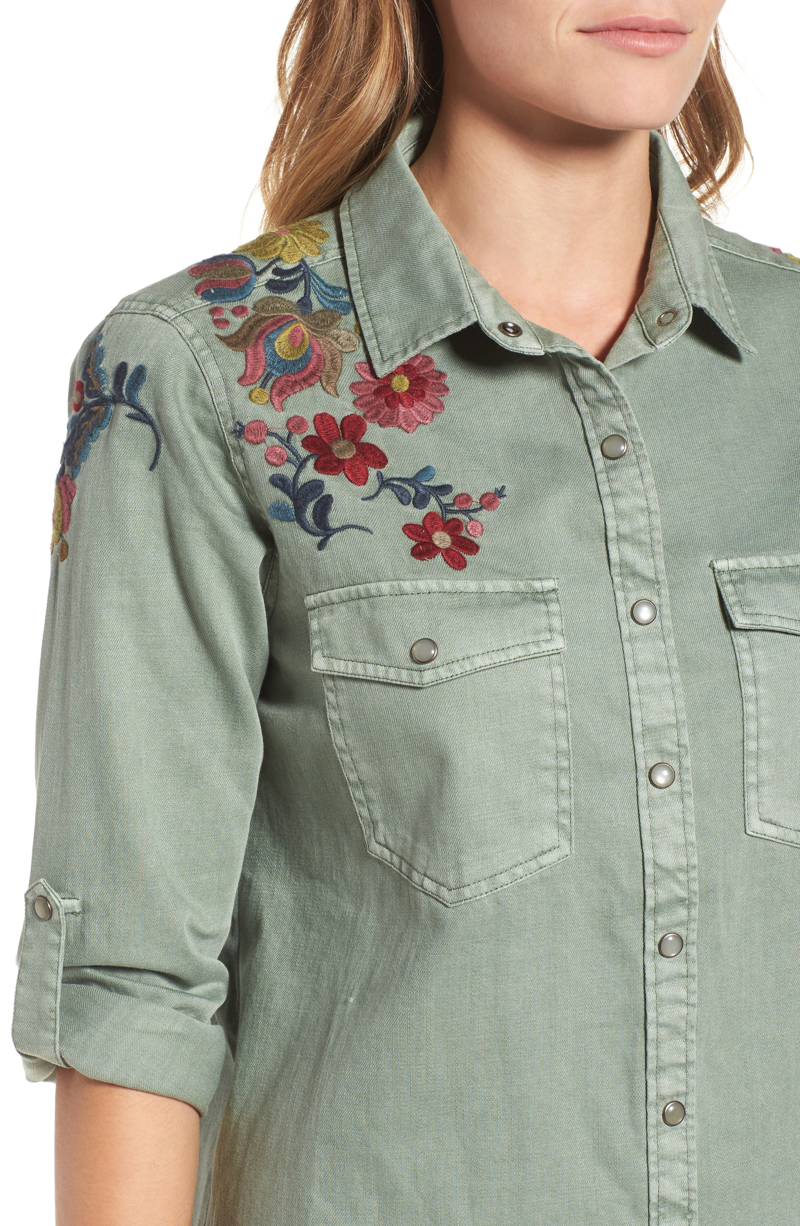 Roll Sleeve Embroidered Shirt,                             Alternate thumbnail 4, color,                             301