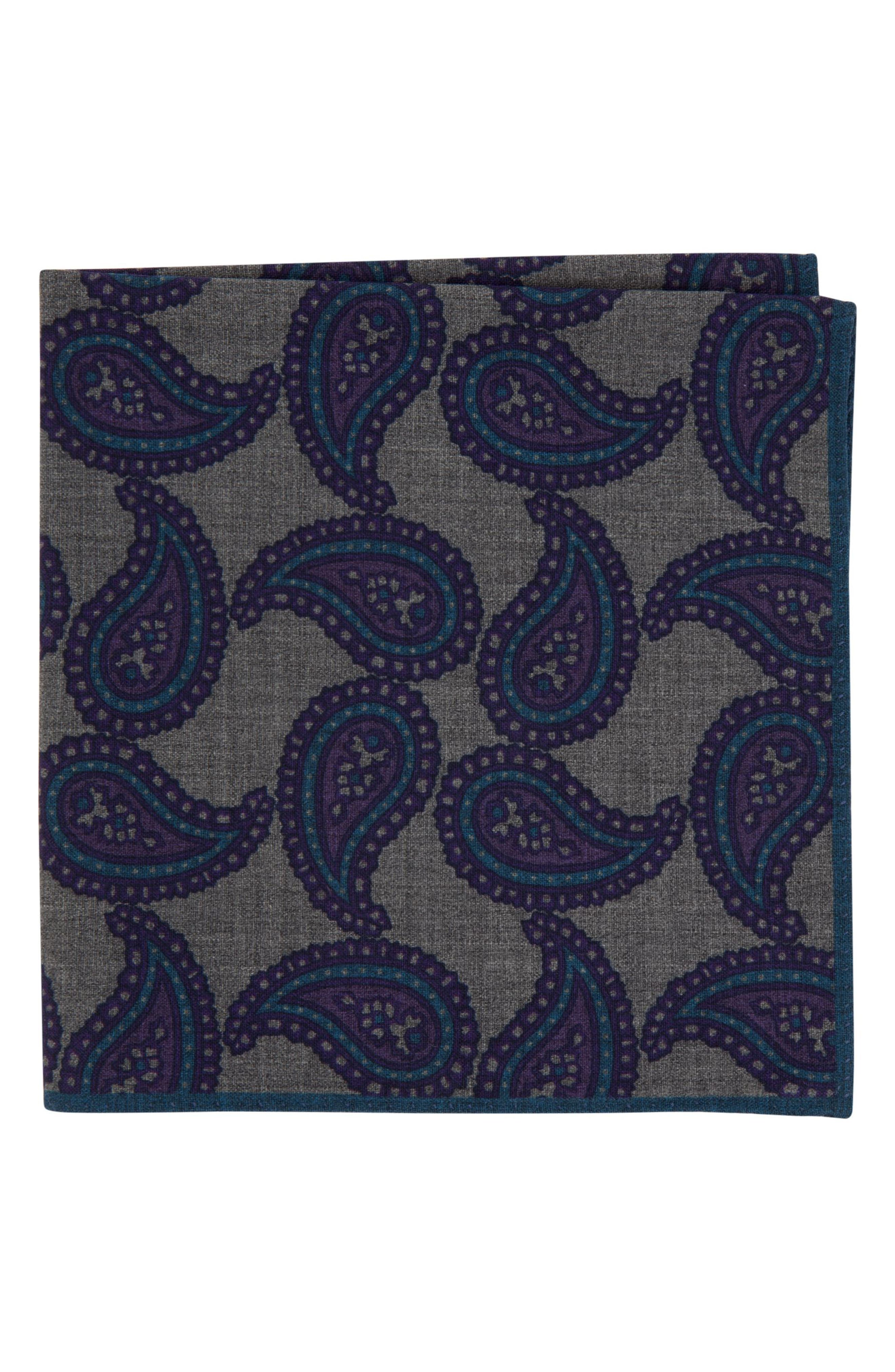 Paisley Wool Pocket Square,                             Main thumbnail 1, color,                             022