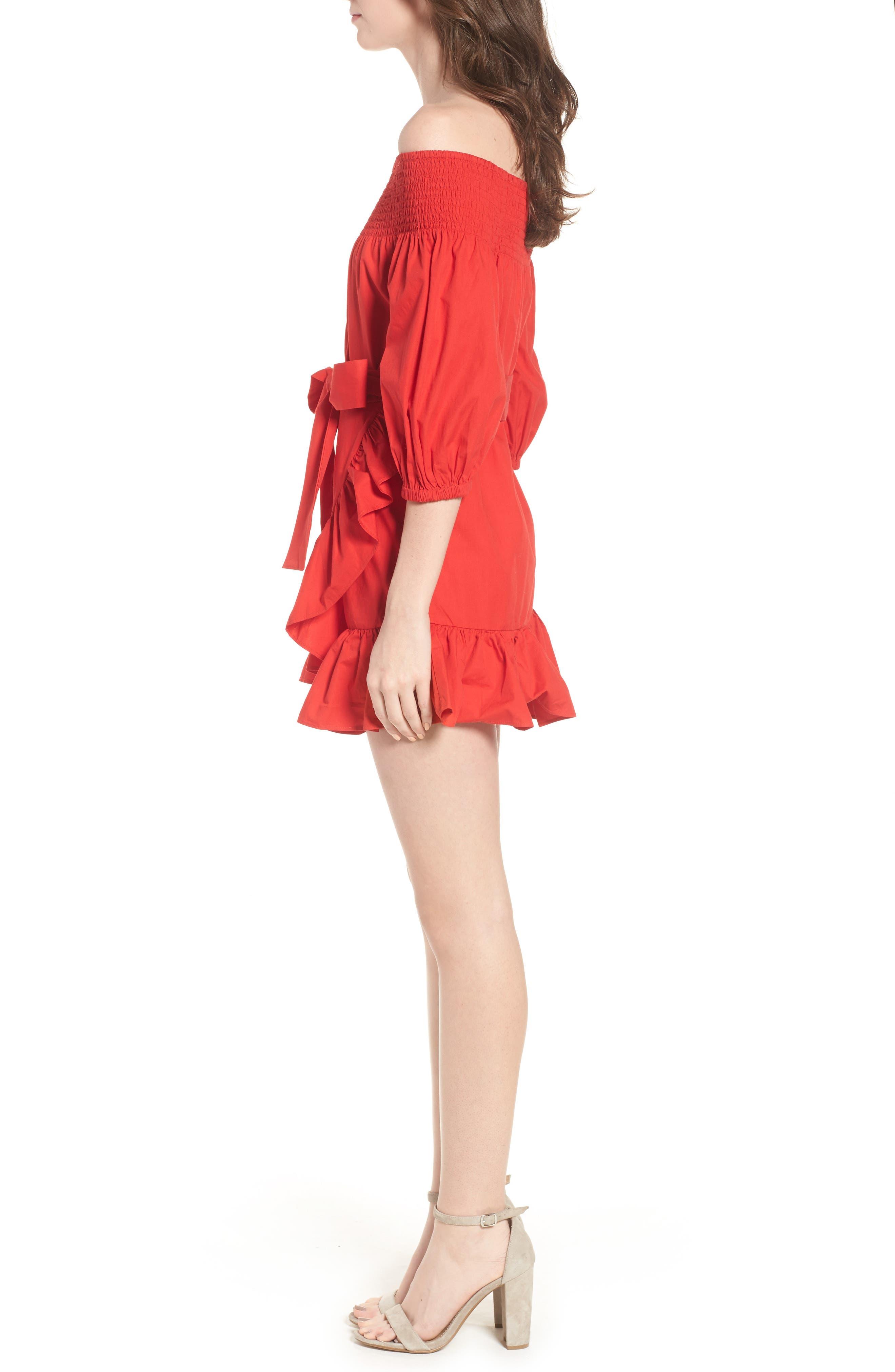 Maida Faux Wrap Ruffle Dress,                             Alternate thumbnail 3, color,                             601
