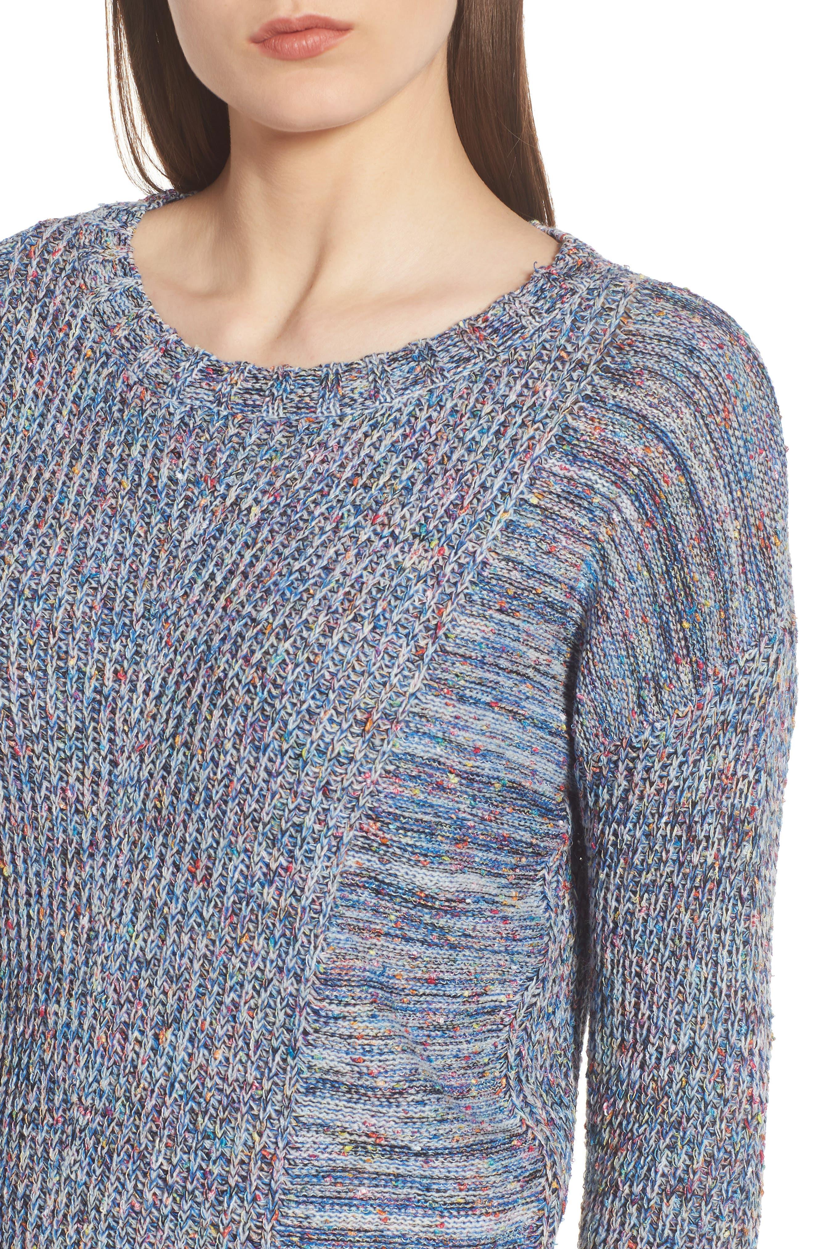 Elsa Sweater,                             Alternate thumbnail 4, color,                             SPECKLED BLUE