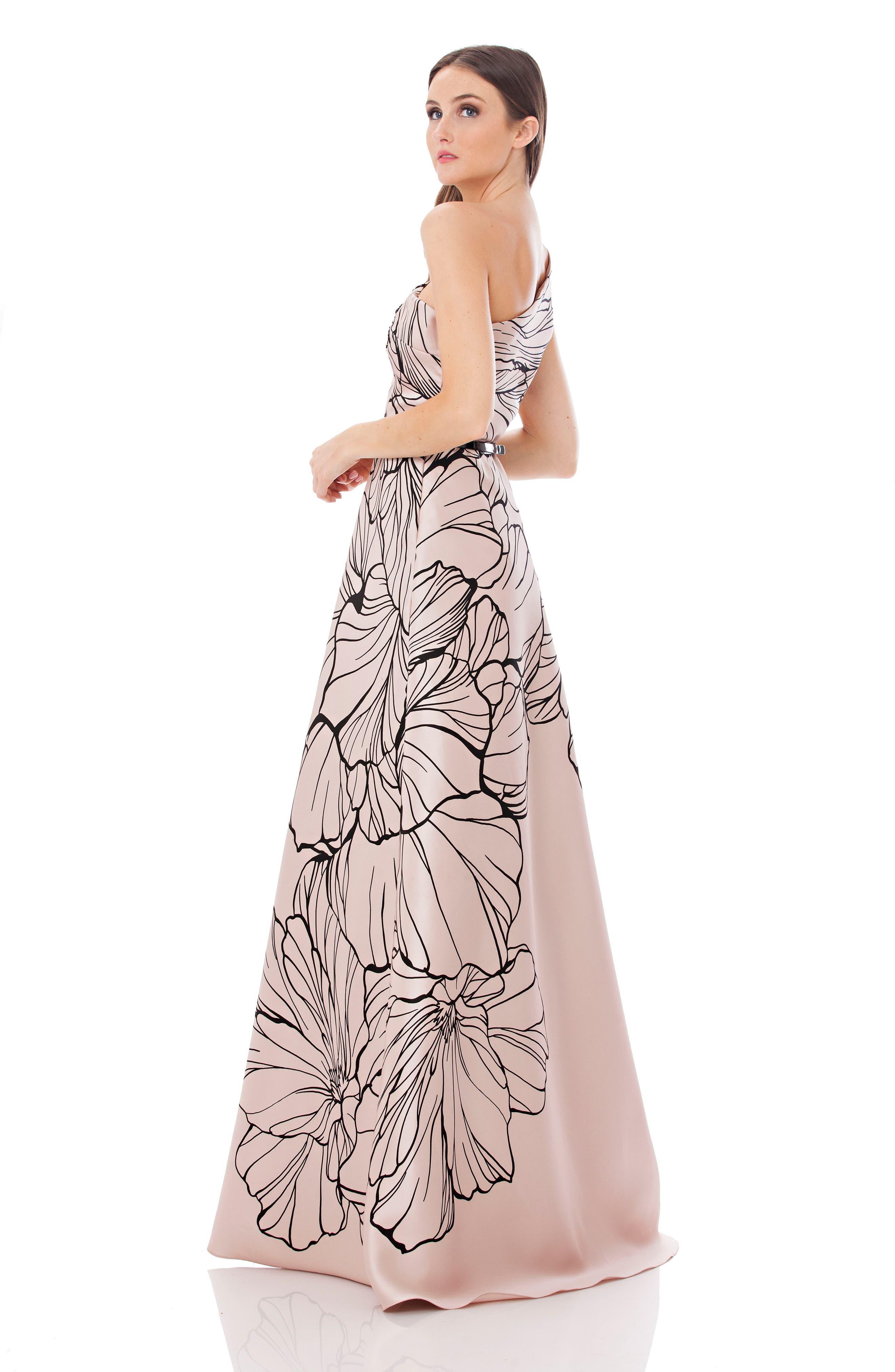 Print One-Shoulder Mikado Gown,                             Alternate thumbnail 4, color,                             250