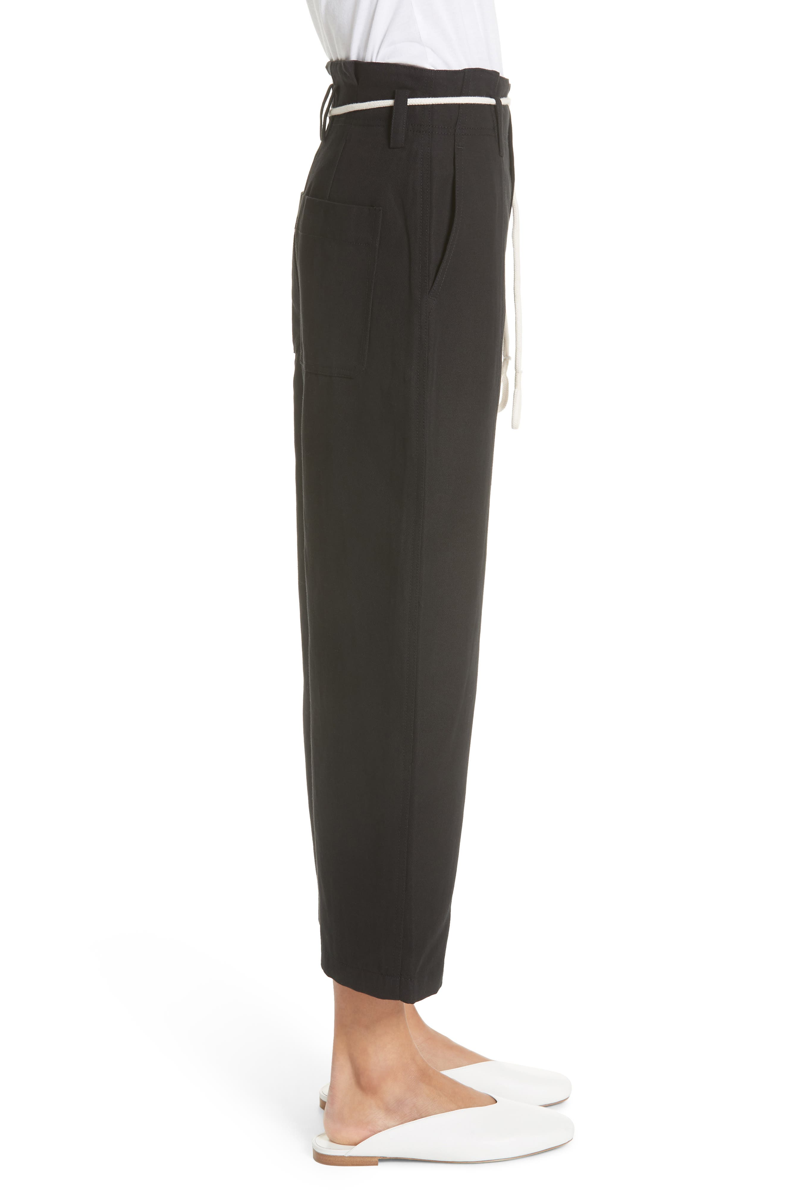 High Rise Linen Cotton Crop Pants,                             Alternate thumbnail 3, color,                             BLACK