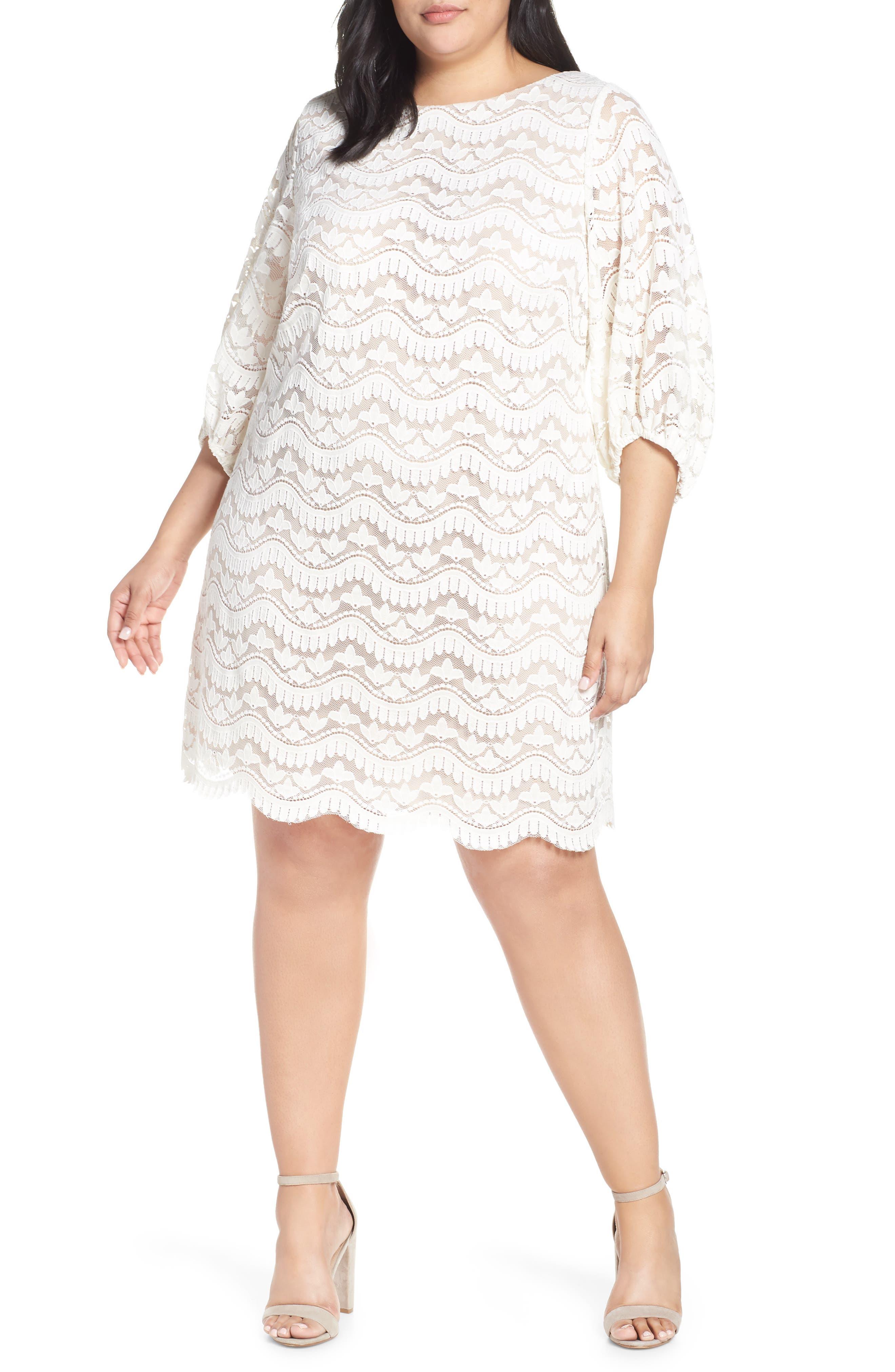 Plus Size Eliza J Lace Shift Dress, Ivory