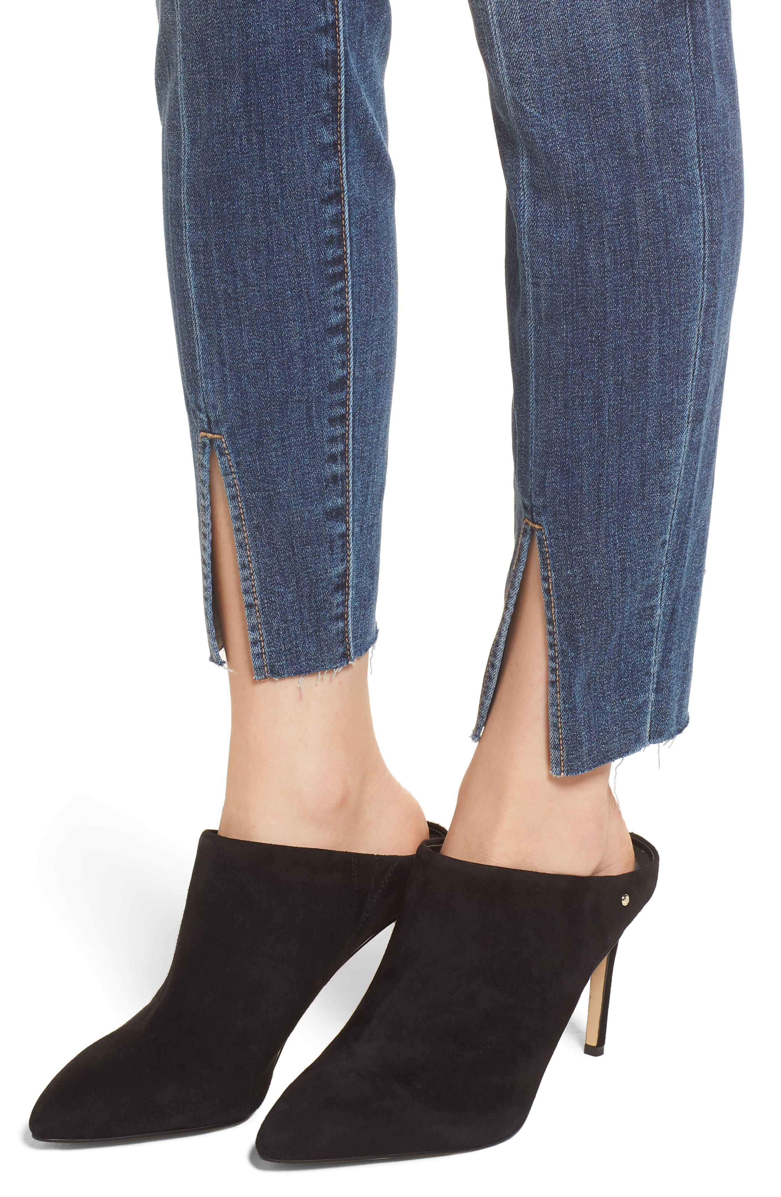 Split Hem Skinny Jeans,                             Alternate thumbnail 4, color,