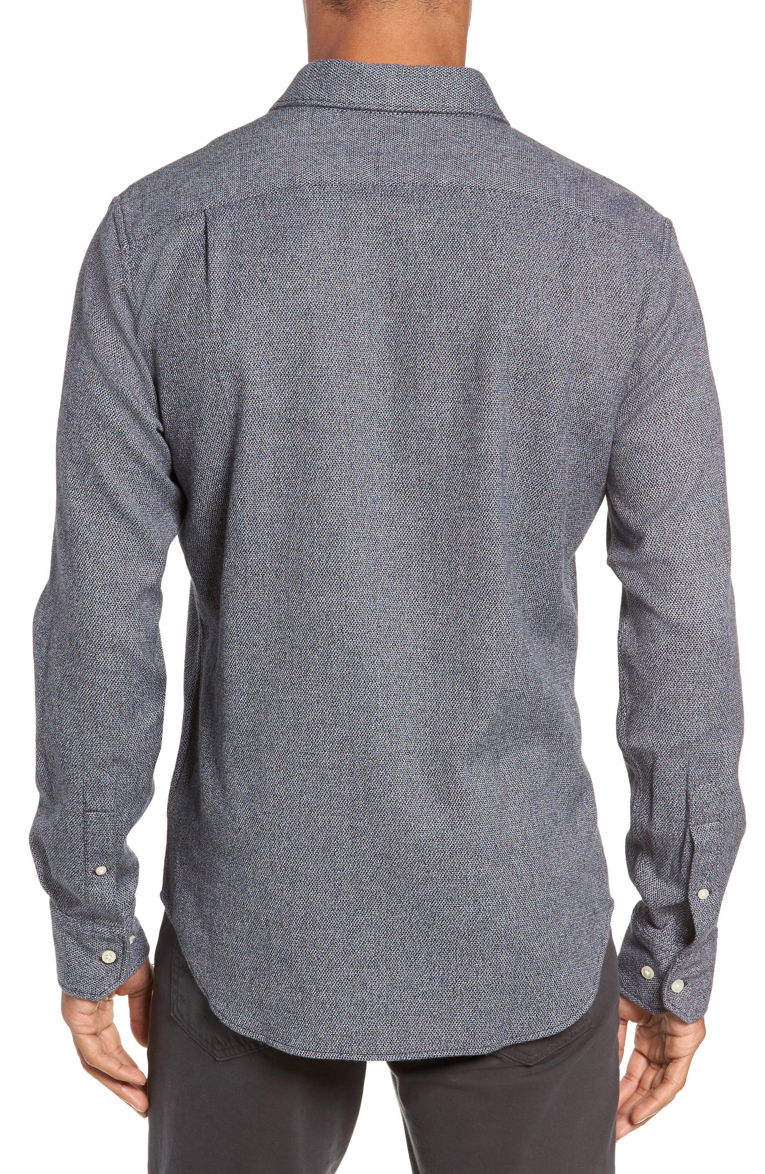 Unbutton Slim Fit Sport Shirt,                             Alternate thumbnail 3, color,                             JASPE TEXTURE - STERLING