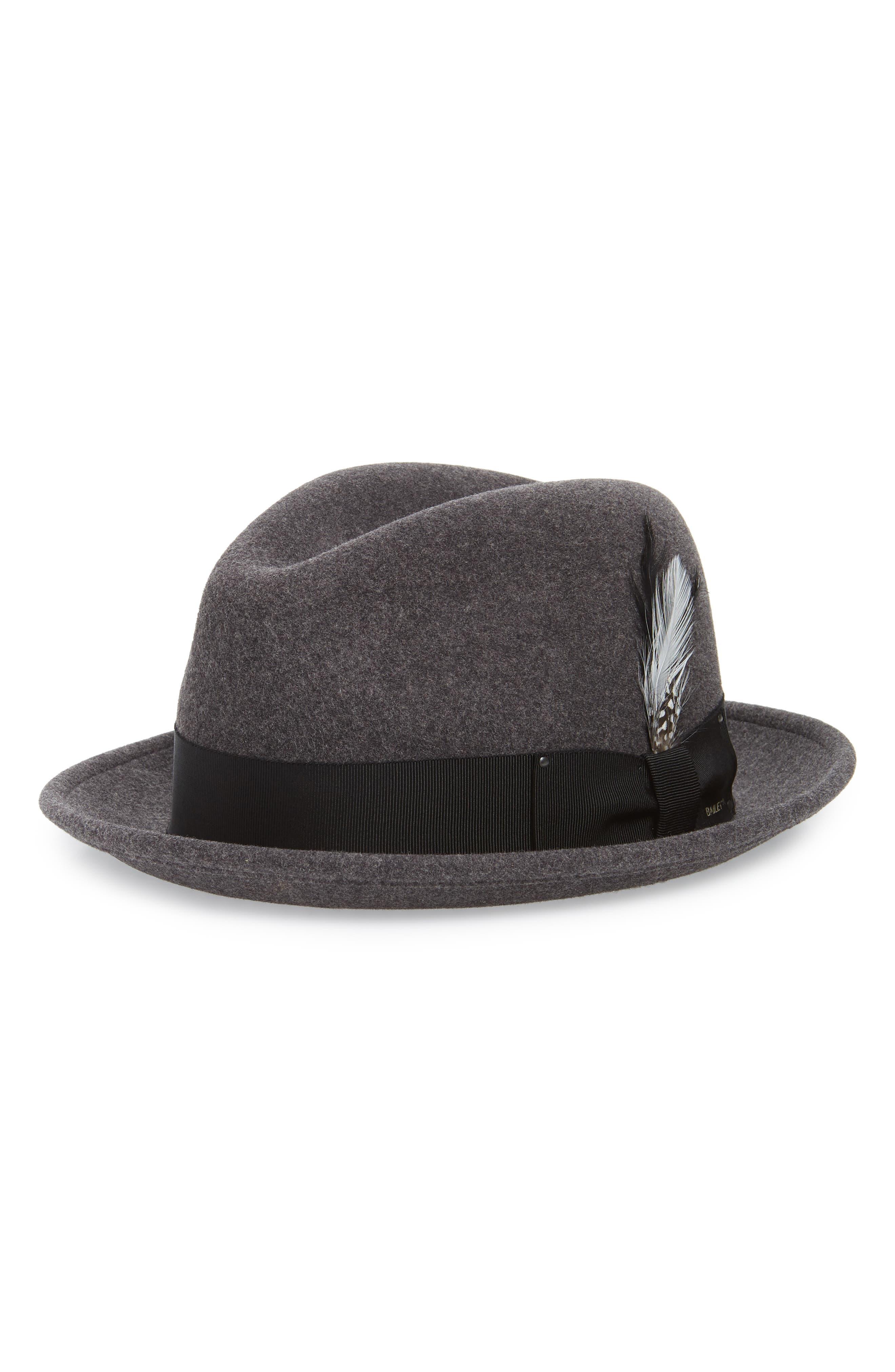 Tino Snap Brim Wool Fedora,                         Main,                         color, BLACK MIX