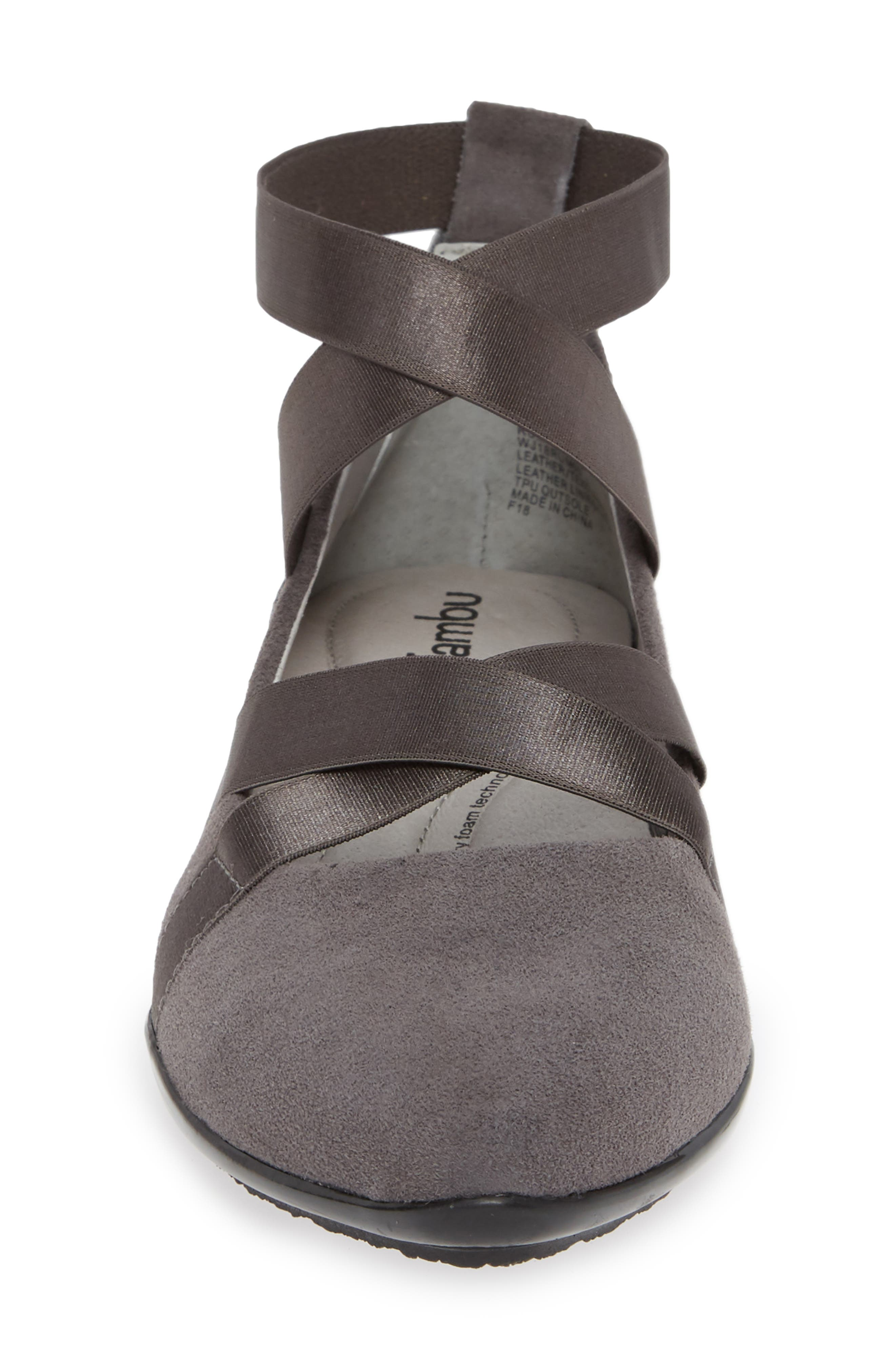 Rumson Flat,                             Alternate thumbnail 4, color,                             CHARCOAL SUEDE