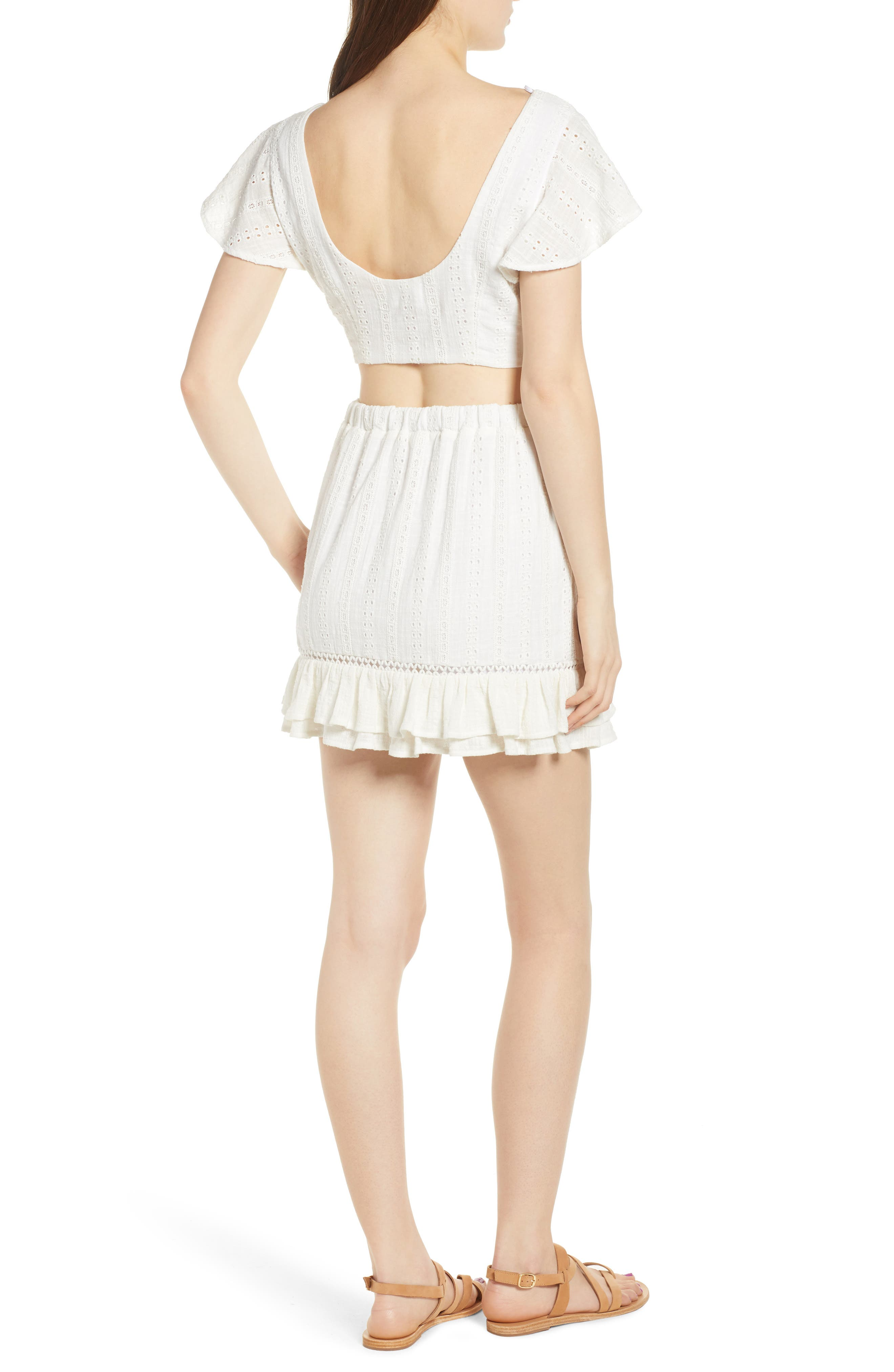 Daisy Ruffle Miniskirt,                             Alternate thumbnail 8, color,