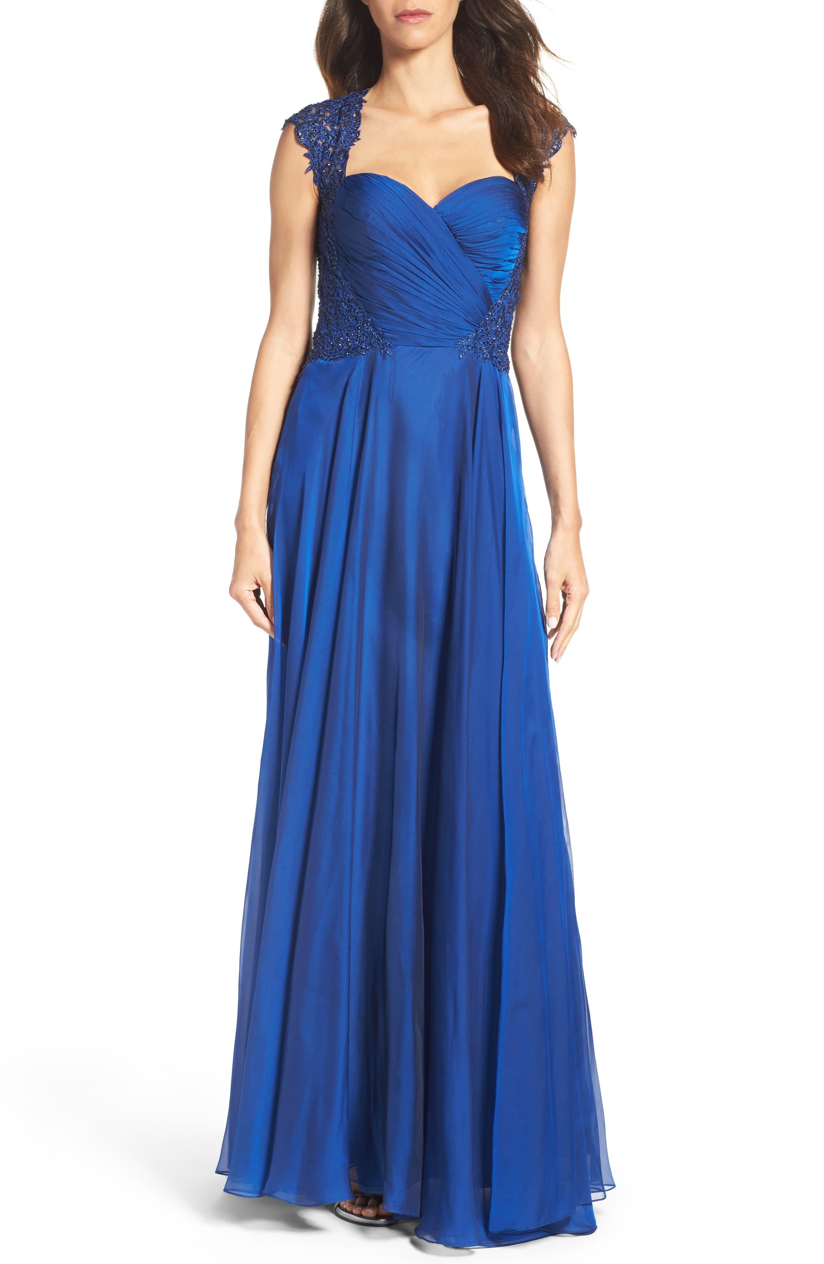 La Femme Ruched Chiffon Gown, Blue