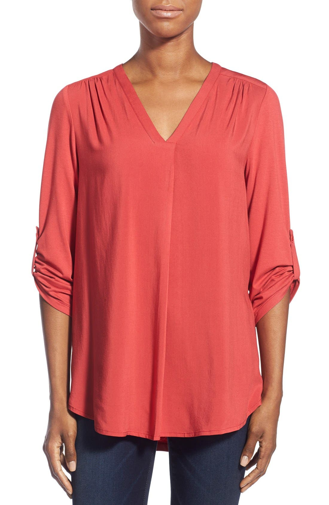 Mixed Media V-Neck Tunic,                             Main thumbnail 26, color,