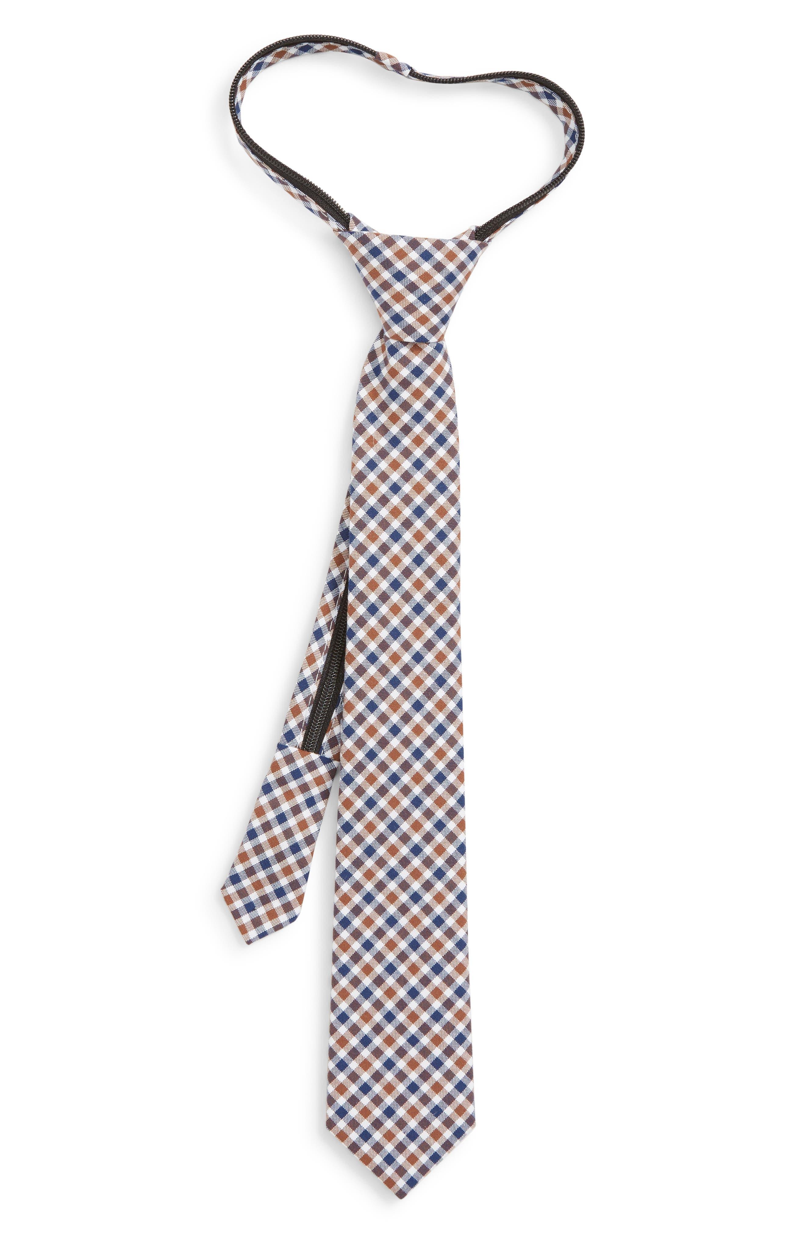 Plaid Cotton Zip Tie,                         Main,                         color, TAUPE