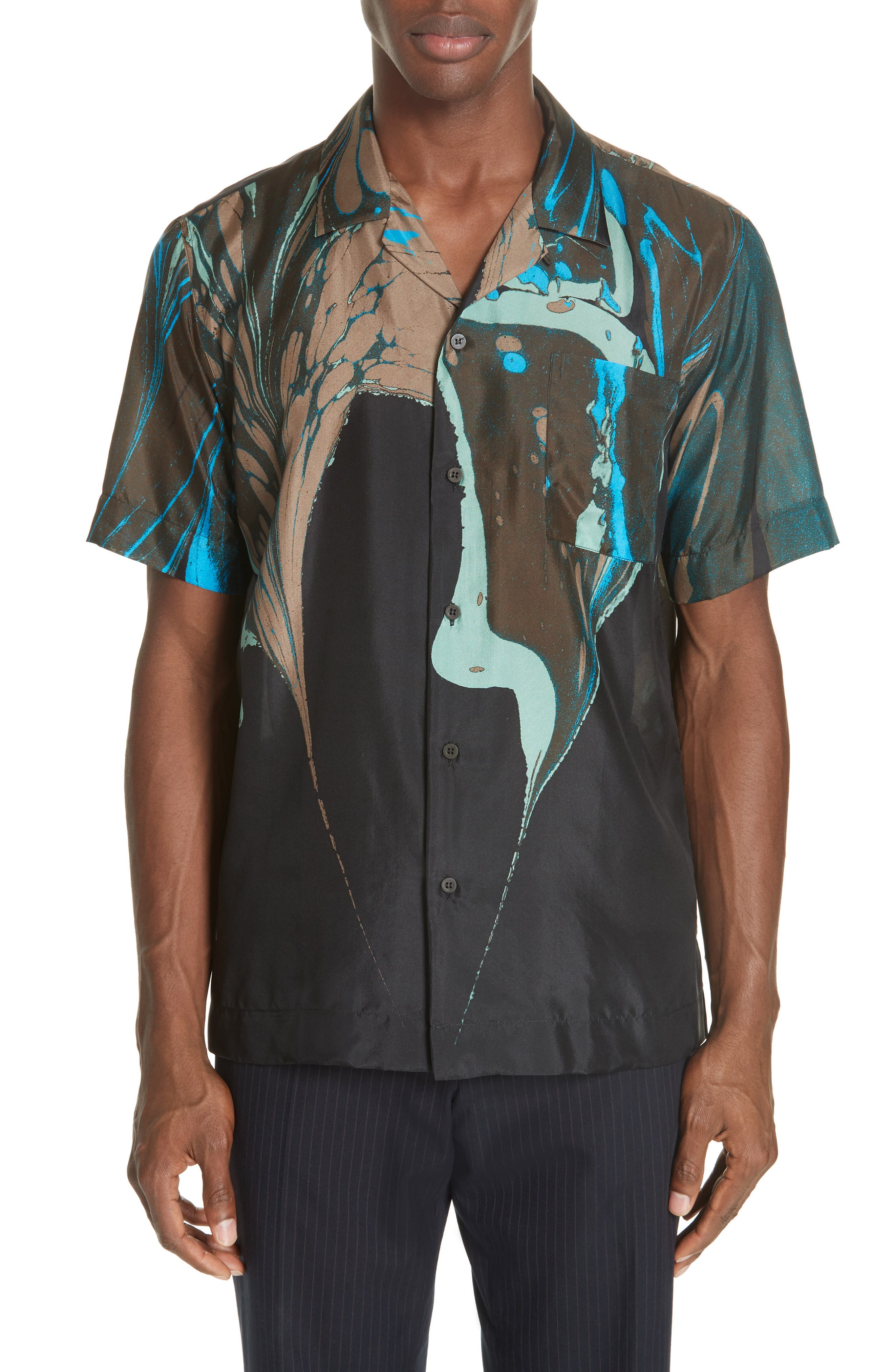 Carlton Print Silk Camp Shirt,                             Main thumbnail 1, color,                             BLACK