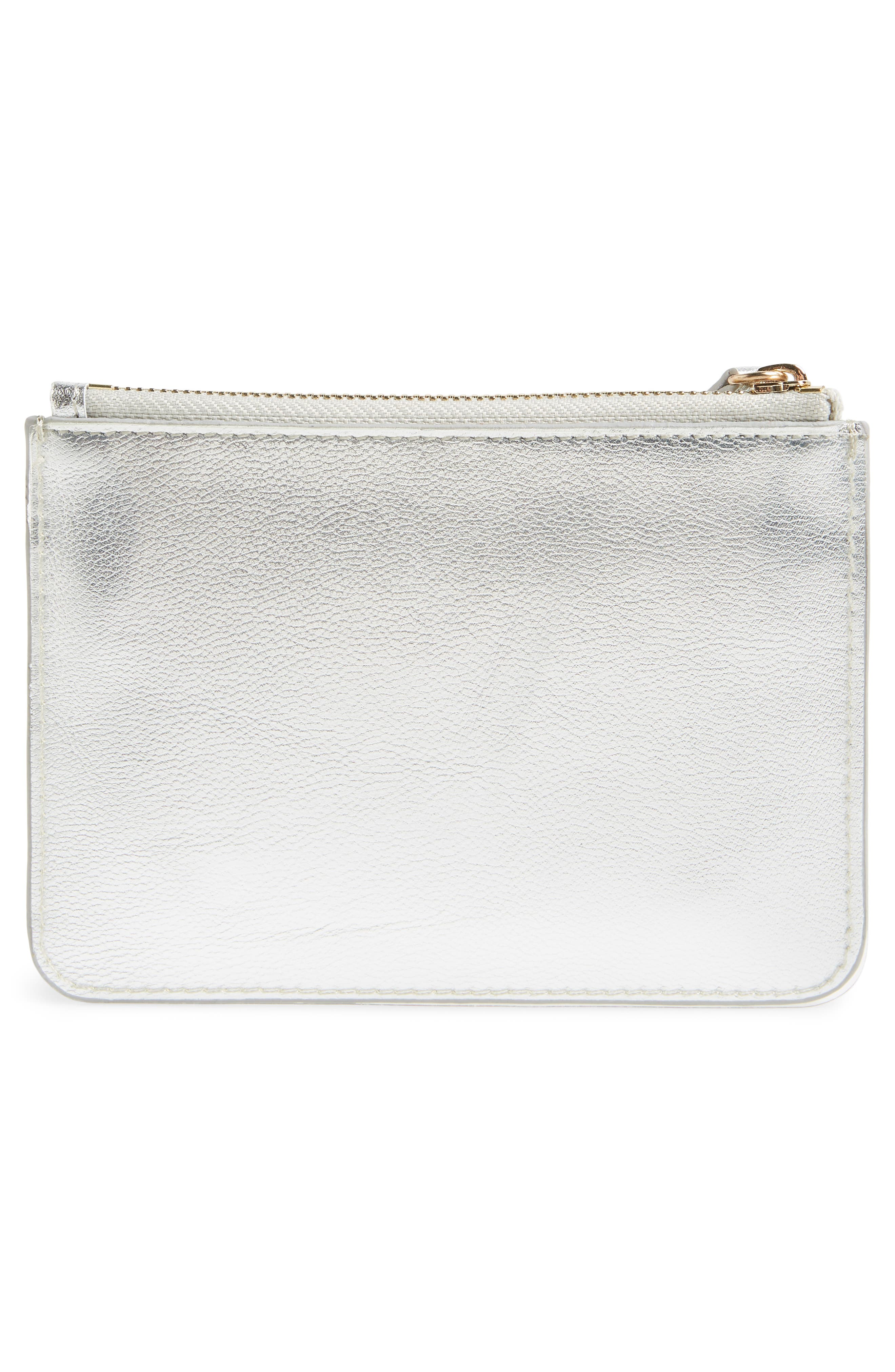 Privacy Leather Coin Pouch,                             Alternate thumbnail 4, color,                             SILVER