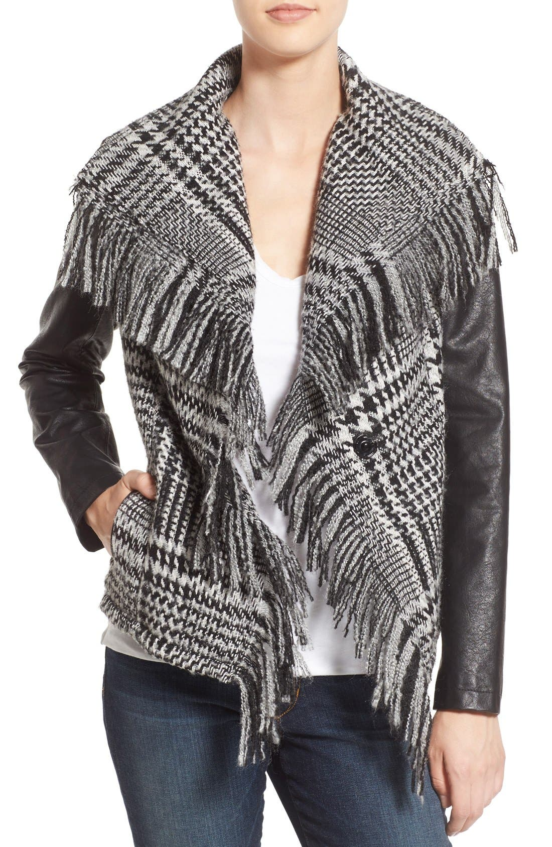 Fringe Trim Glen Plaid Faux Leather Moto Jacket,                         Main,                         color, 012