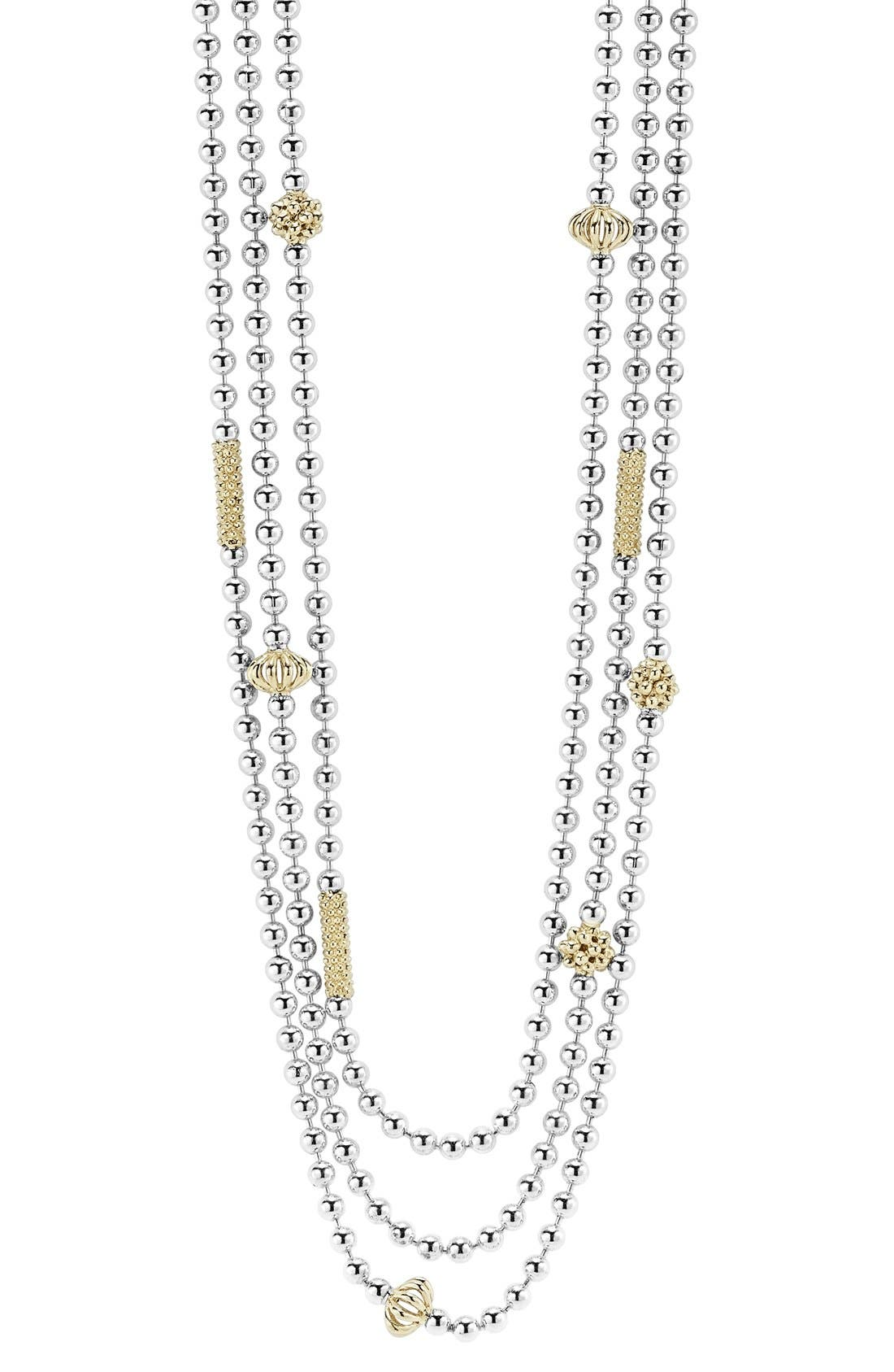 'Caviar Icon' Multistrand Necklace,                             Alternate thumbnail 3, color,                             SILVER/ GOLD