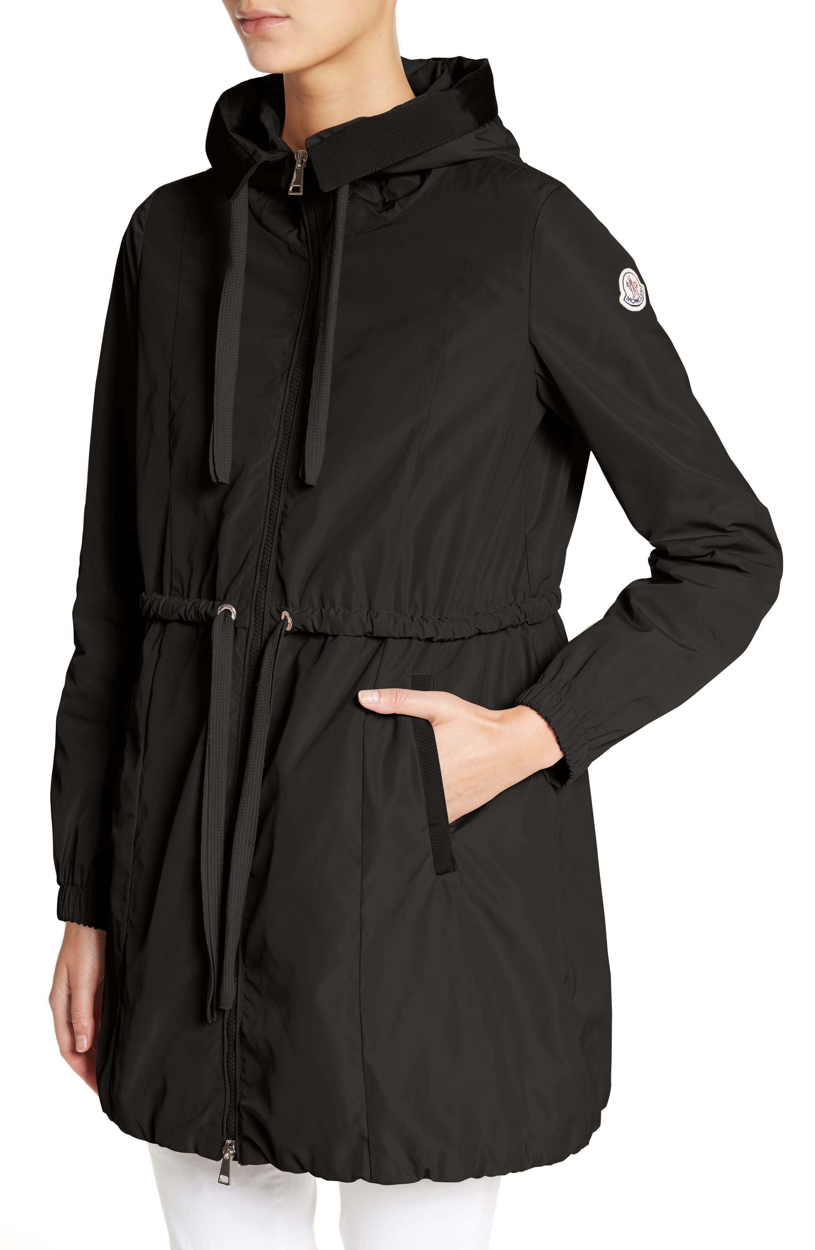 Topaze Water Resistant Hooded Jacket,                             Alternate thumbnail 4, color,                             BLACK