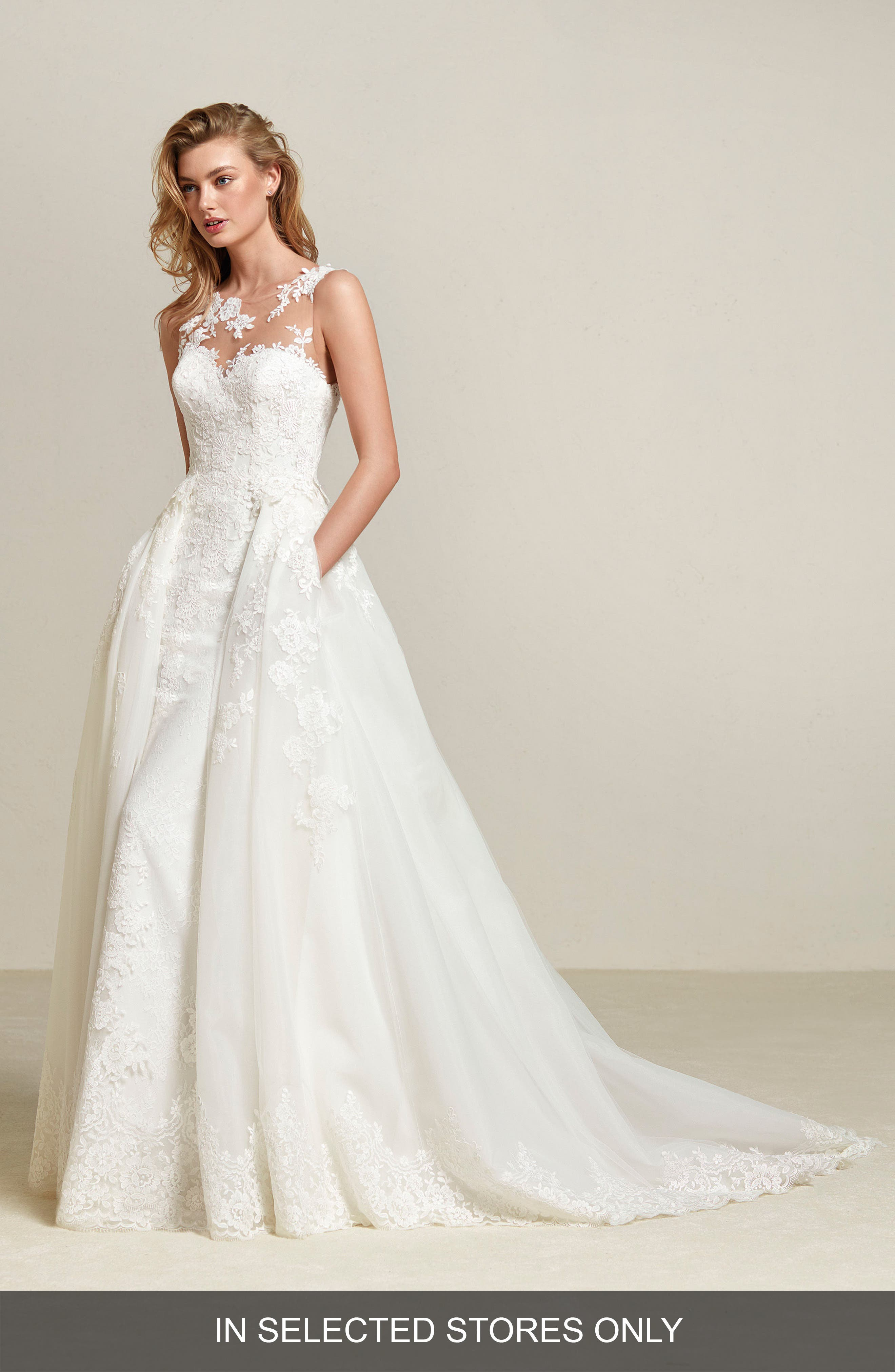 Drum Lace Sheath with Detachable Overskirt,                         Main,                         color, OFF WHITE/CRYSTAL