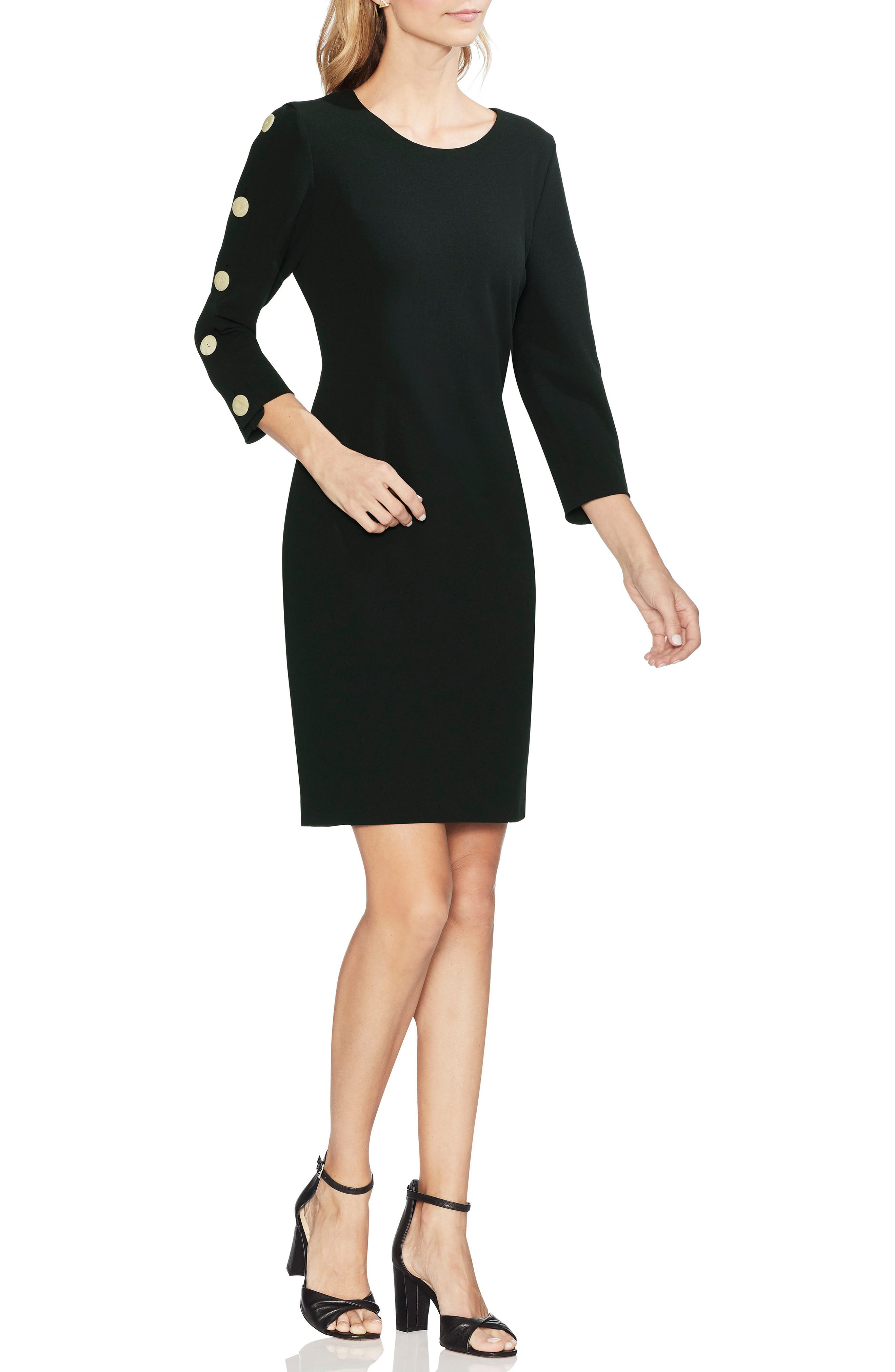 Vince Camuto Button Sleeve Sheath Dress, Black
