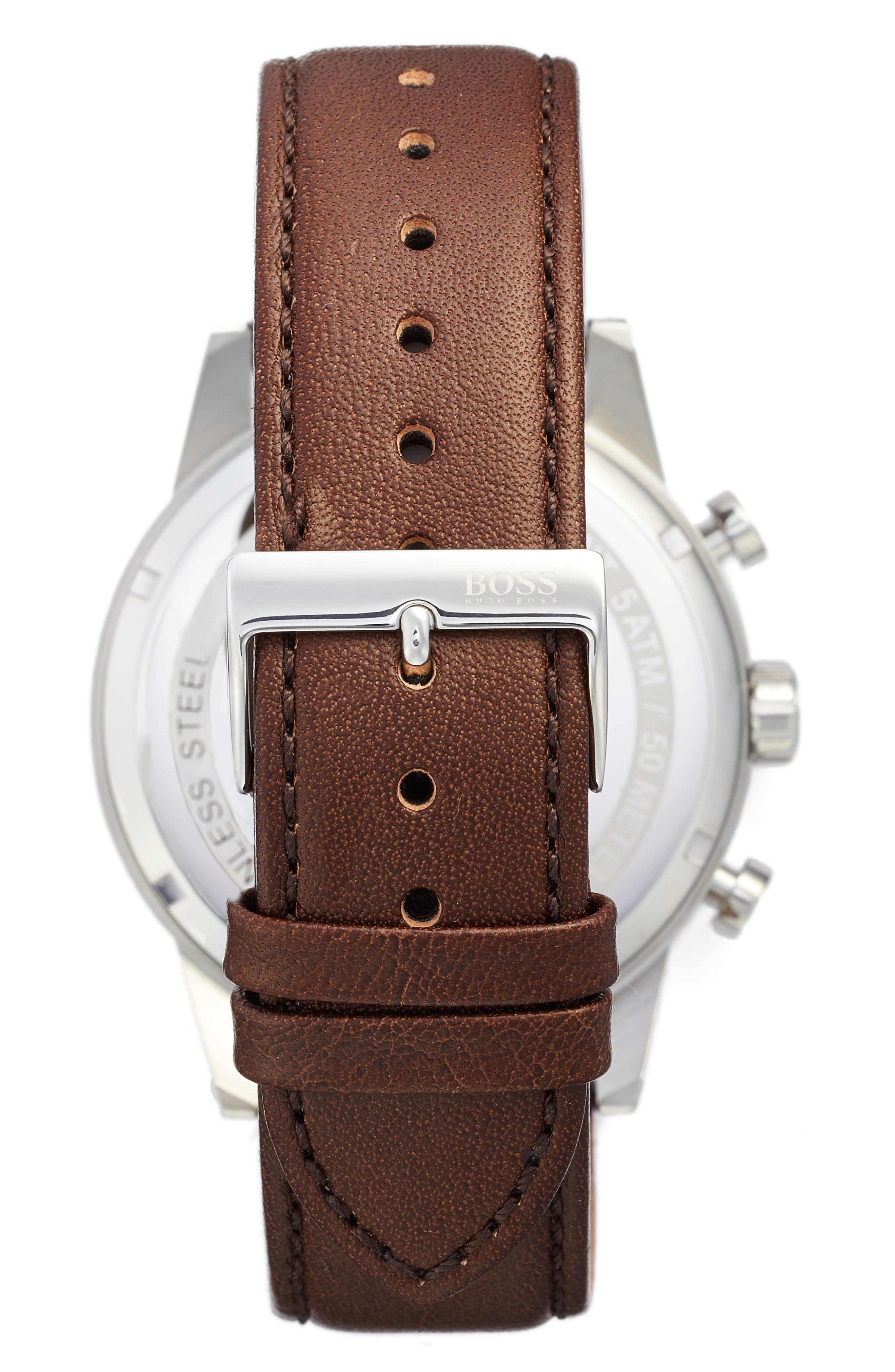 Navigator Chronograph Leather Strap Watch, 44mm,                             Alternate thumbnail 2, color,                             GREY/ BROWN