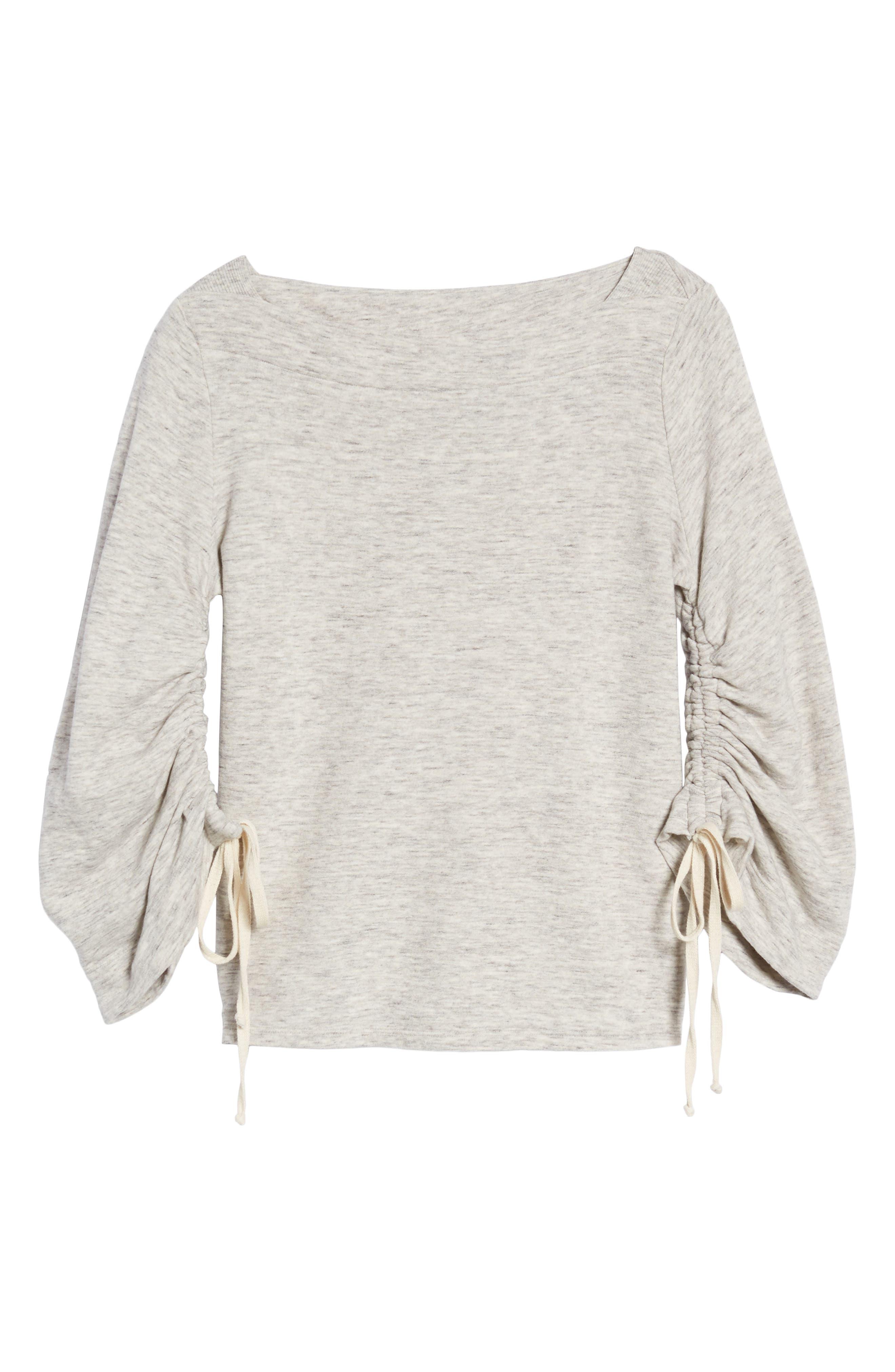 Ruched Sleeve Sweatshirt,                             Alternate thumbnail 6, color,