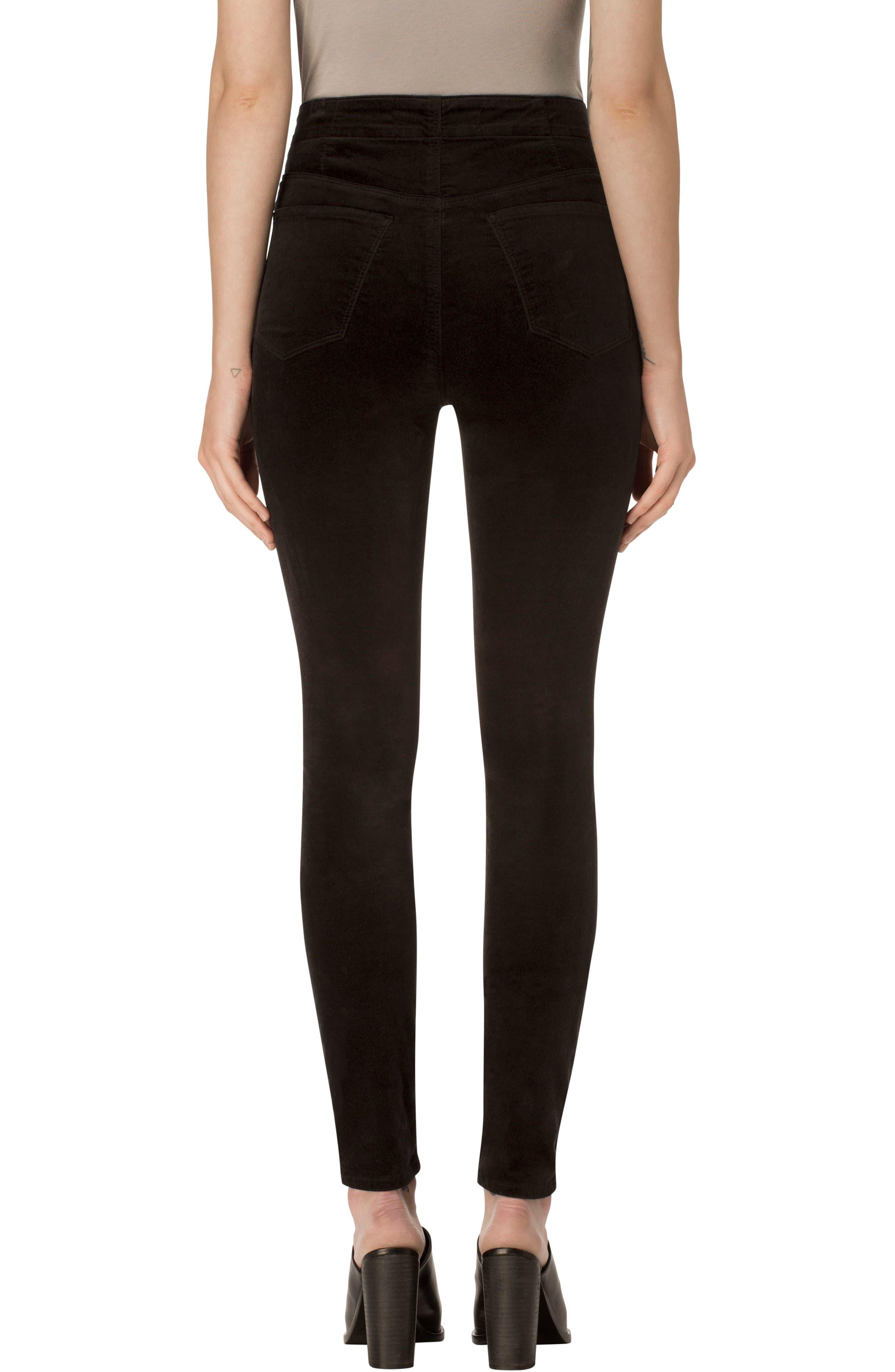 Natasha Sky High Velvet Skinny Pants,                             Alternate thumbnail 2, color,                             BLACK
