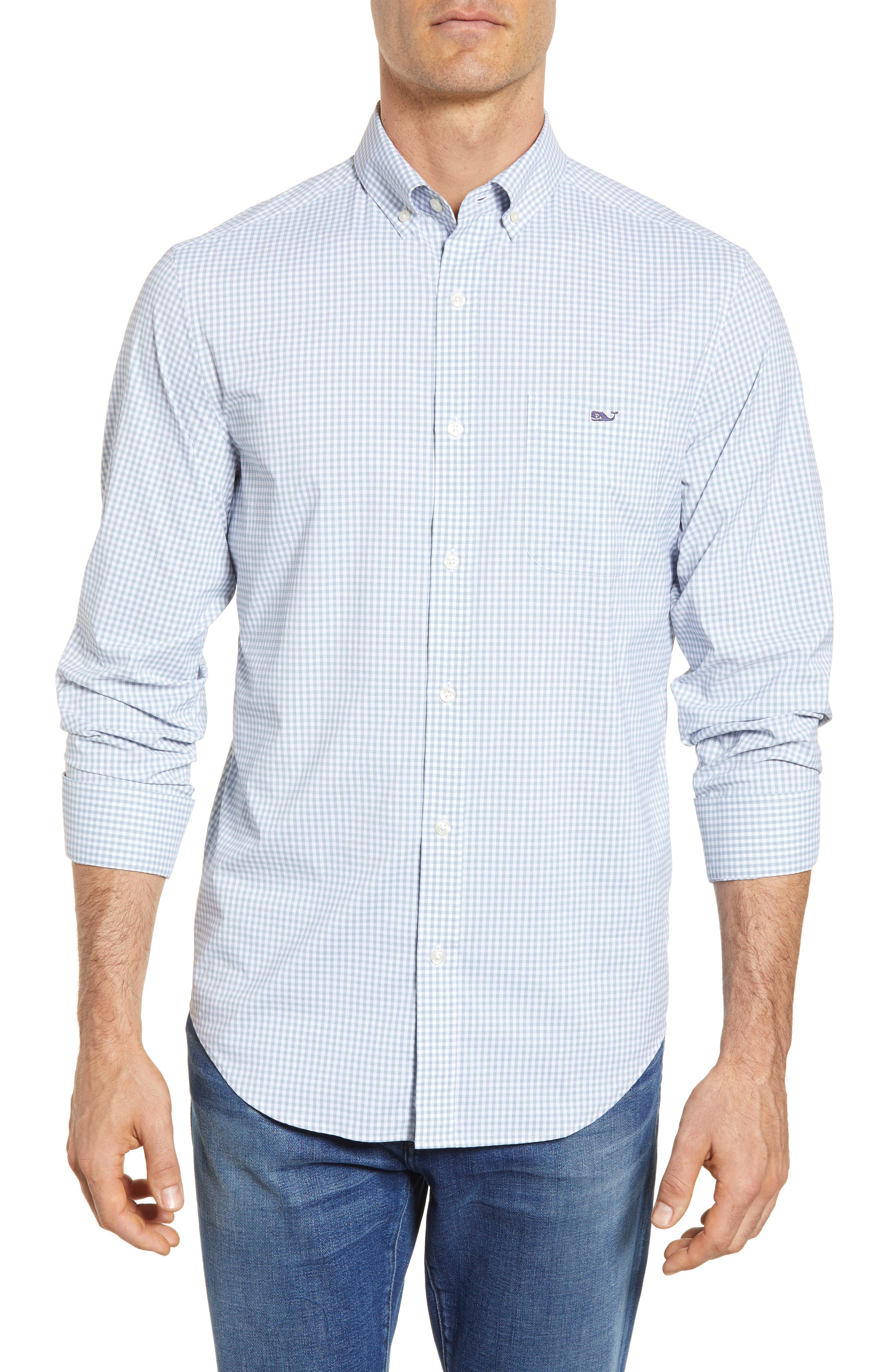 Grand Cay Tucker Regular Fit Gingham Performance Sport Shirt,                         Main,                         color, 023