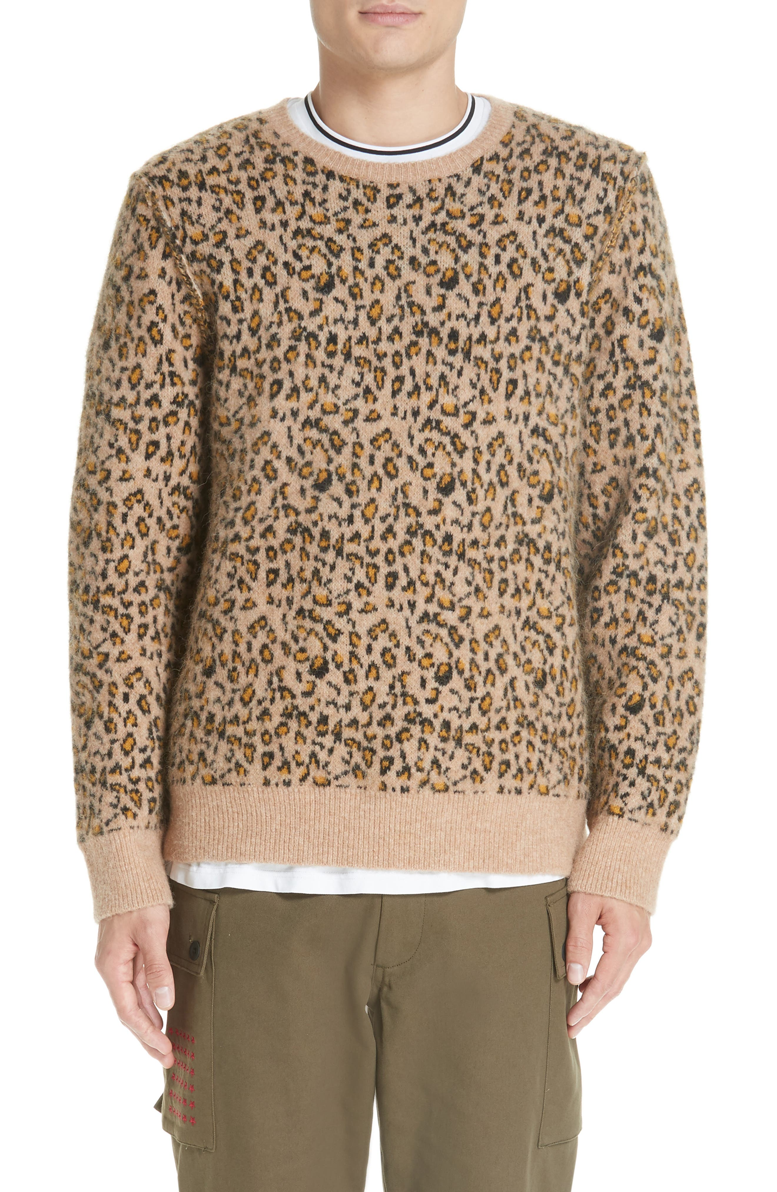 OVADIA & SONS Men'S Leopard Pattern Jacquard Crewneck Sweater