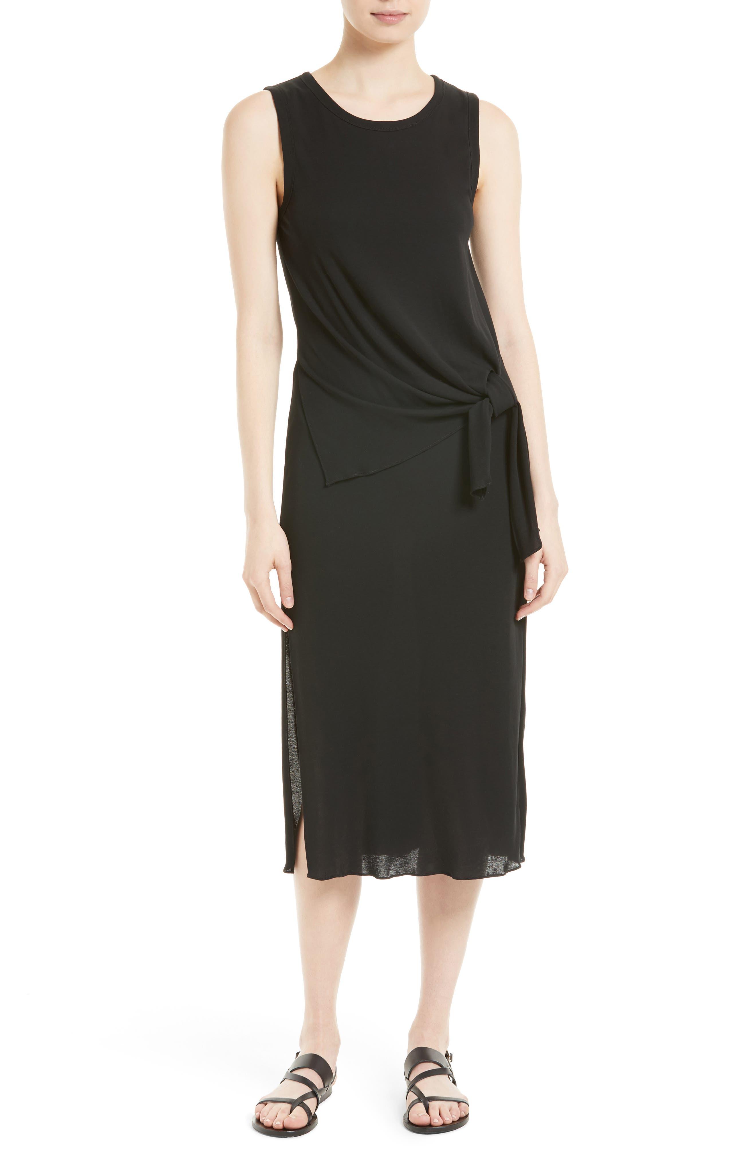 Dorotea K Tie Front Cotton Interlock Dress,                             Main thumbnail 1, color,                             001