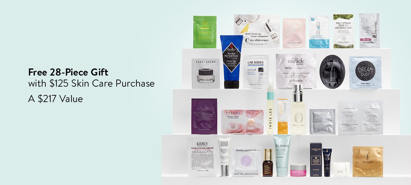 Free 28-piece gift with $125 skin care purchase. A $217 purchase.