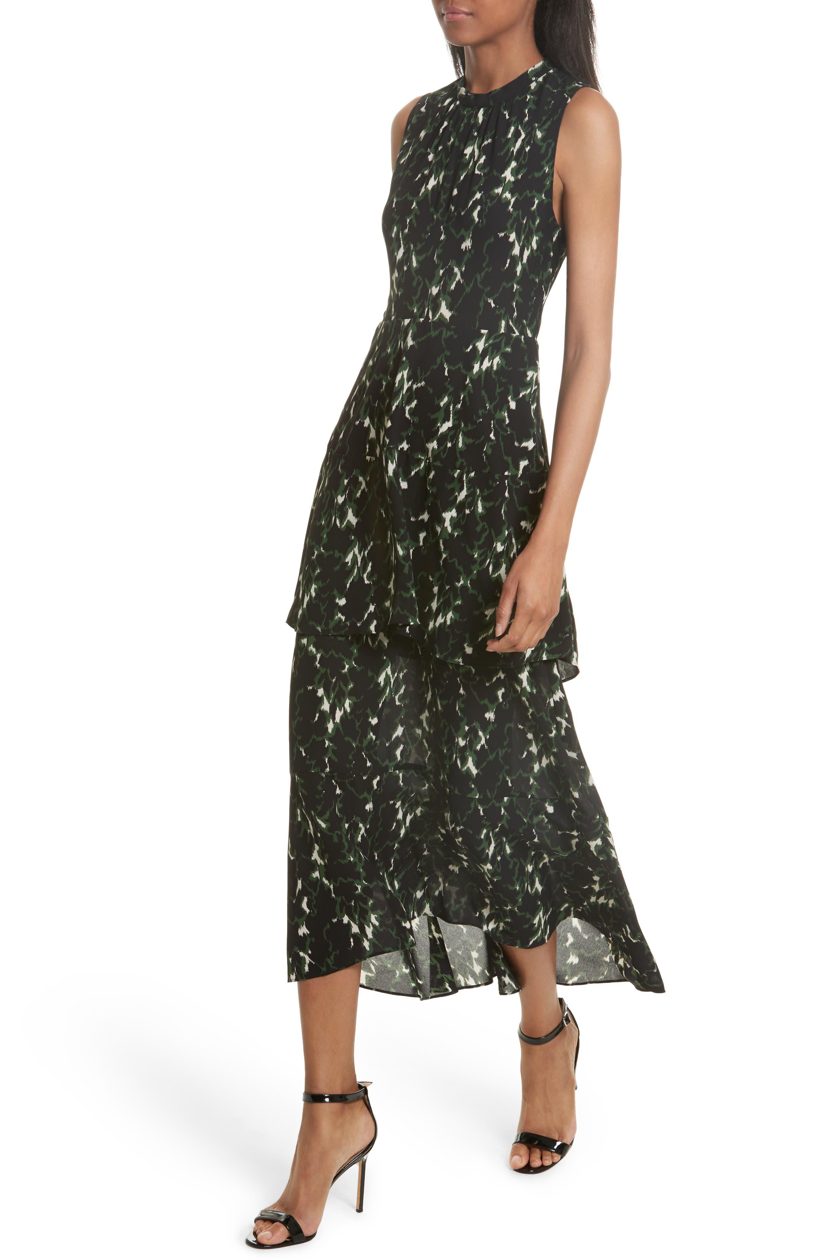 Wylon Print Silk Dress,                             Alternate thumbnail 4, color,                             301