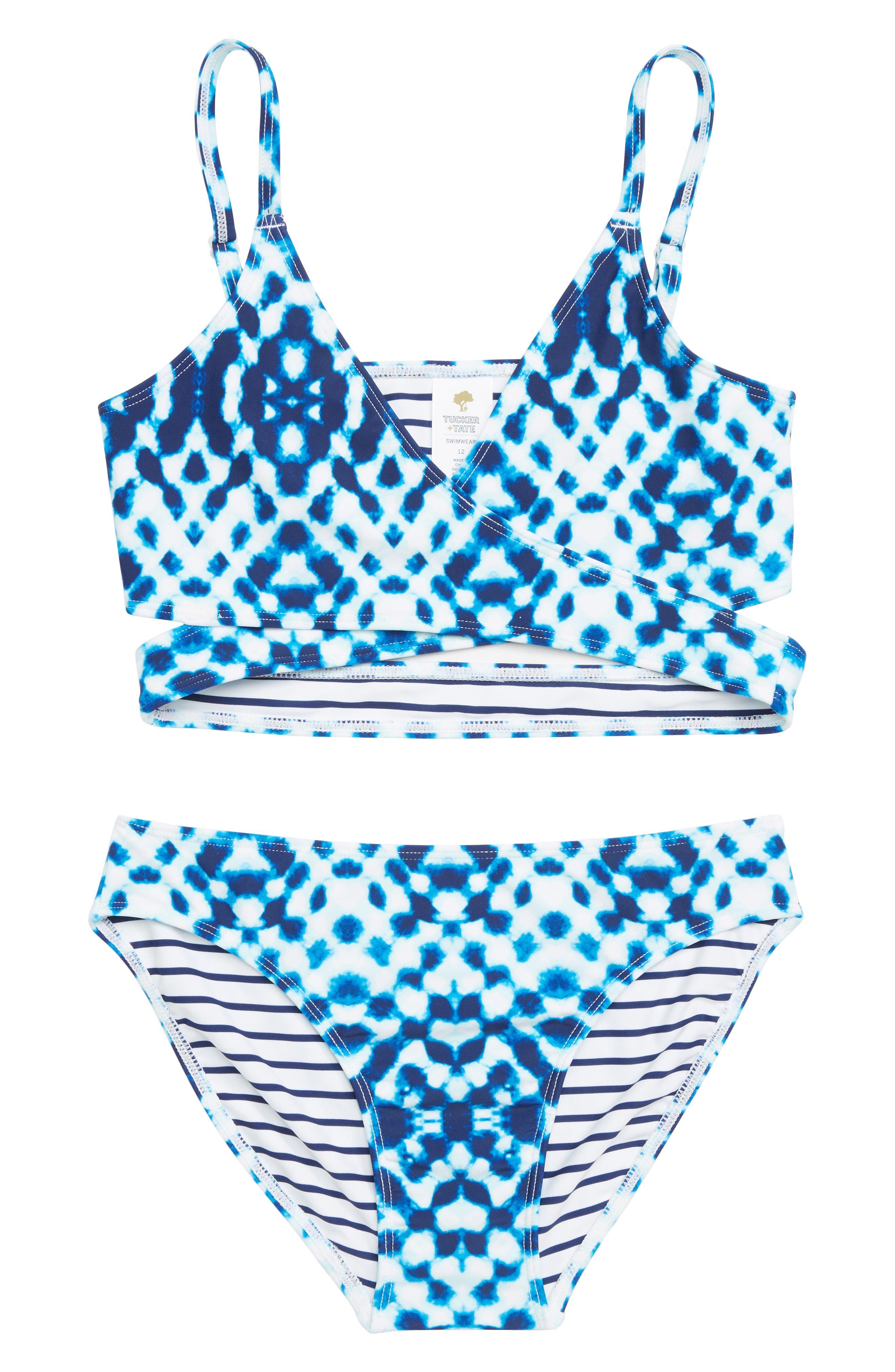 Two-Piece Swimsuit,                         Main,                         color, BLUE DEPTHS GEO SHIBORI