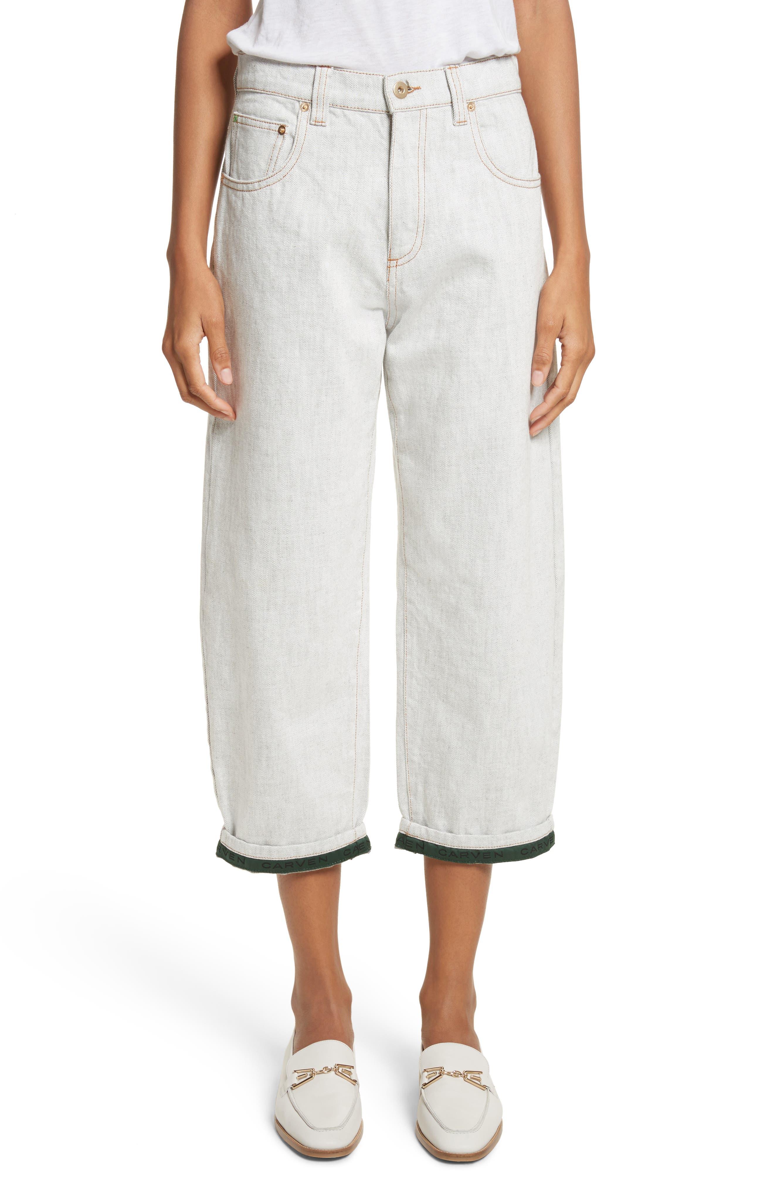 Logo Cuff Crop Jeans,                         Main,                         color, 100