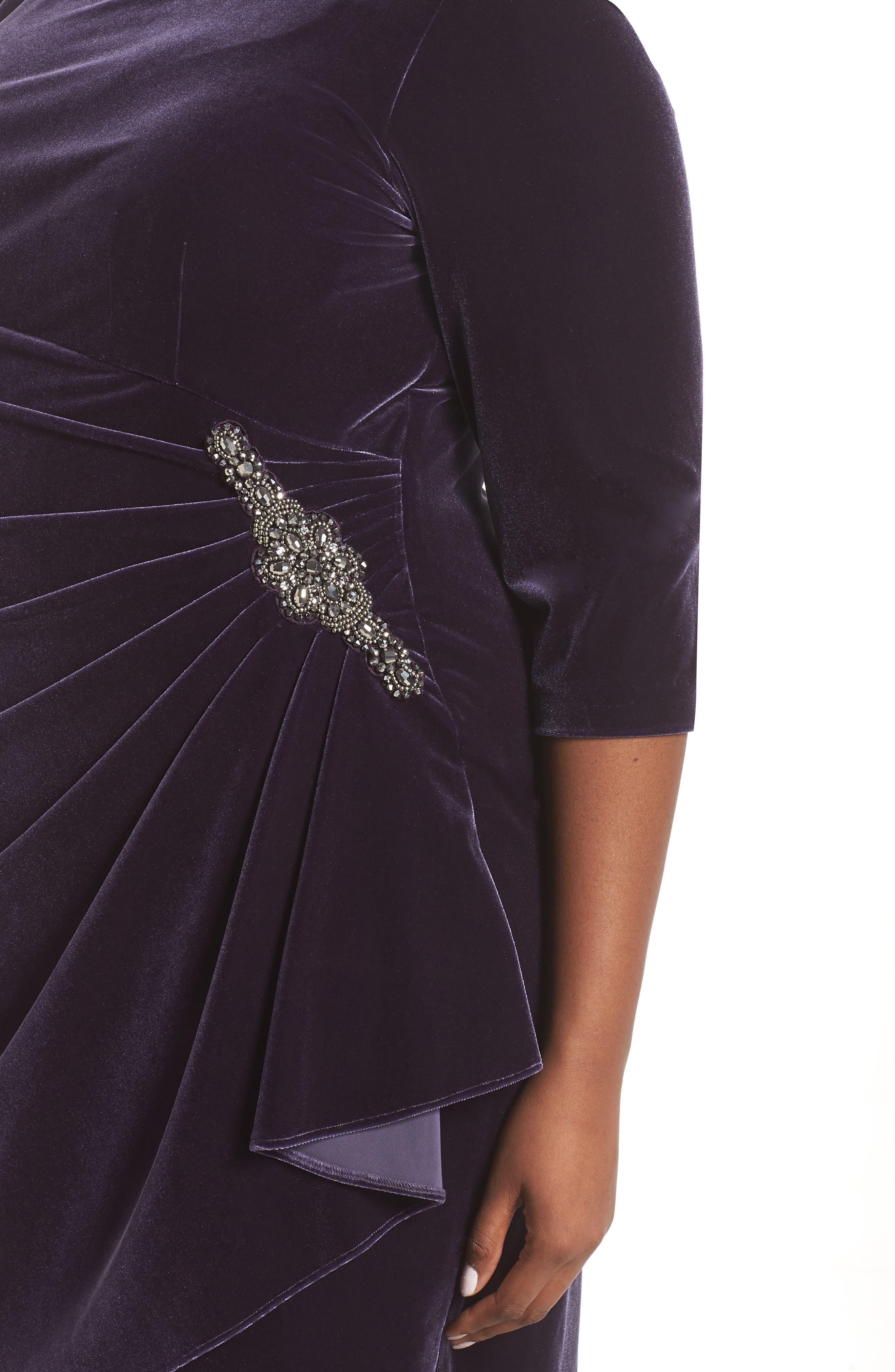 Alex Evening Velvet Sheath Dress,                             Alternate thumbnail 4, color,                             AMETHYST