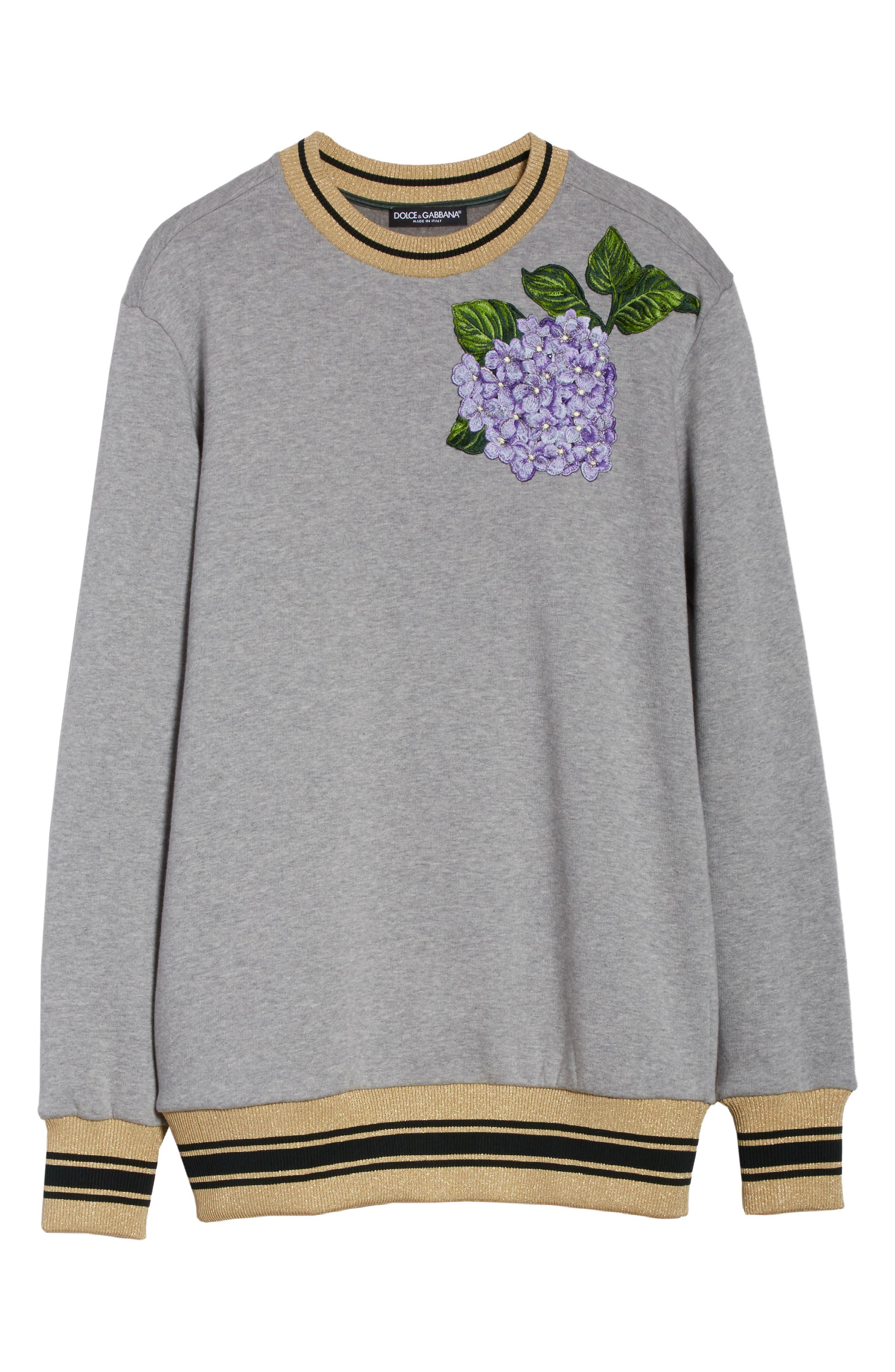 Hydrangea Patch Sweatshirt,                             Alternate thumbnail 6, color,                             050