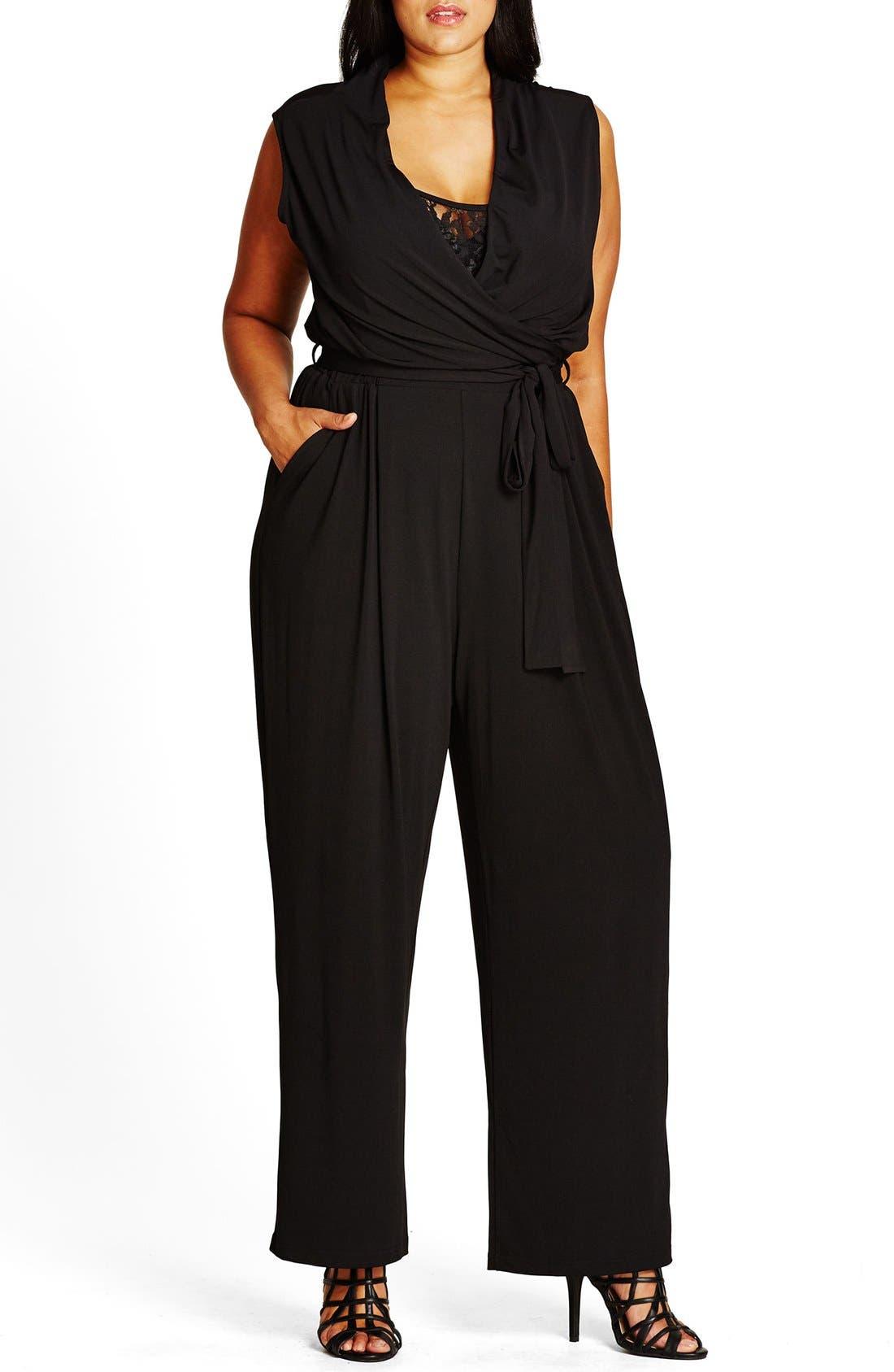 Samurai Lace Inset Surplice Jersey Jumpsuit,                         Main,                         color, 001