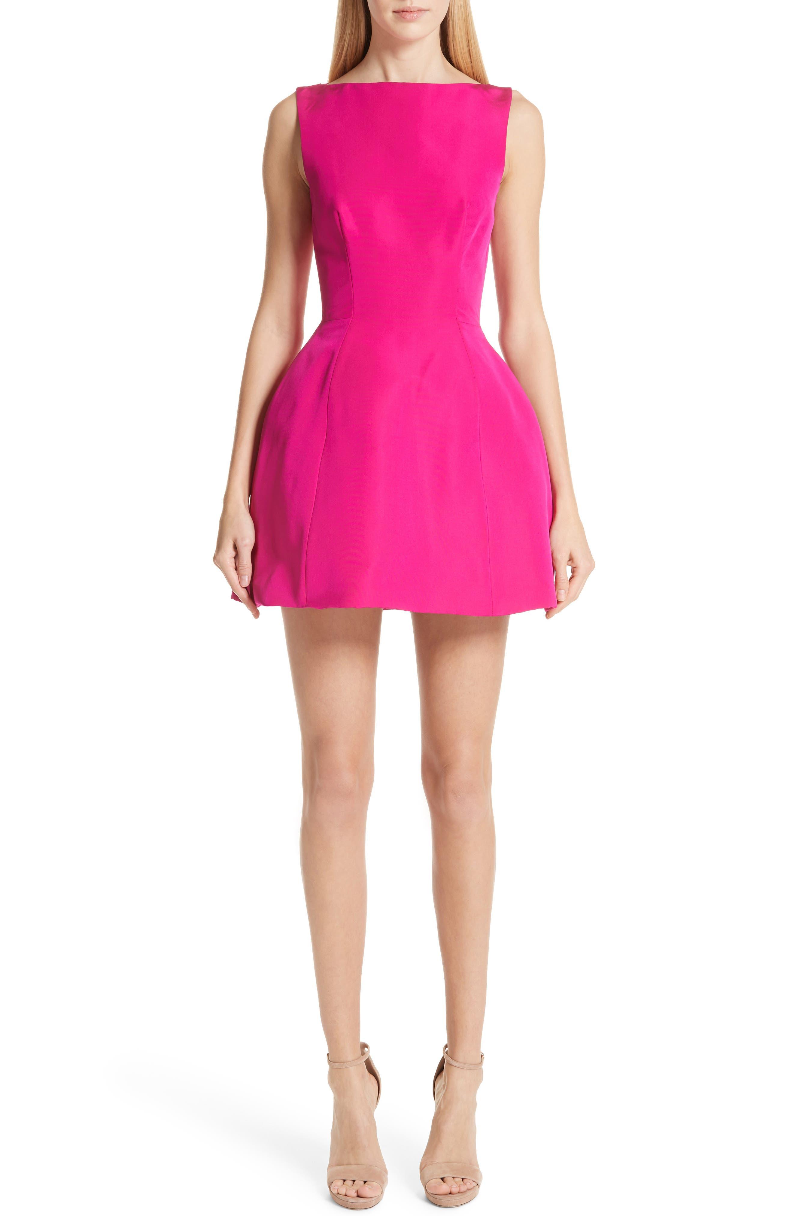 BRANDON MAXWELL Sleeveless Fit-And-Flare Silk Faille Bubble Dress in Fuchsia
