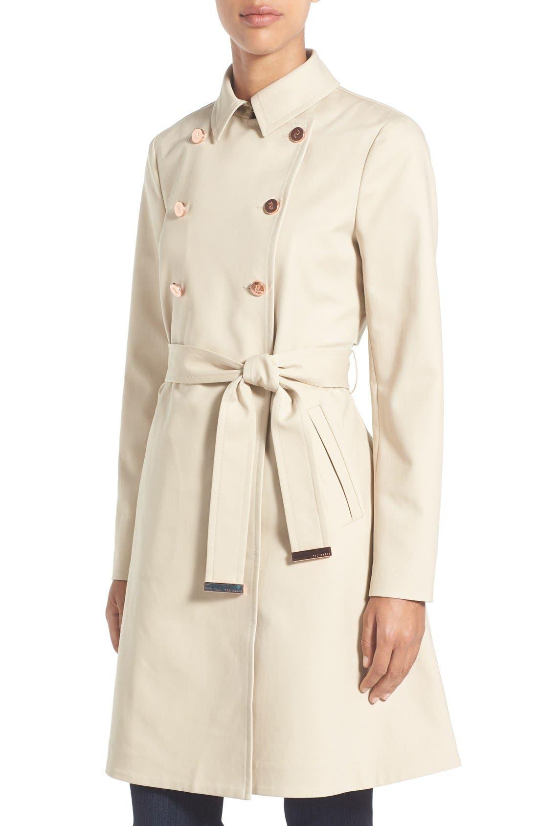 TED BAKER LONDON,                             Flared Skirt Trench Coat,                             Alternate thumbnail 4, color,                             253