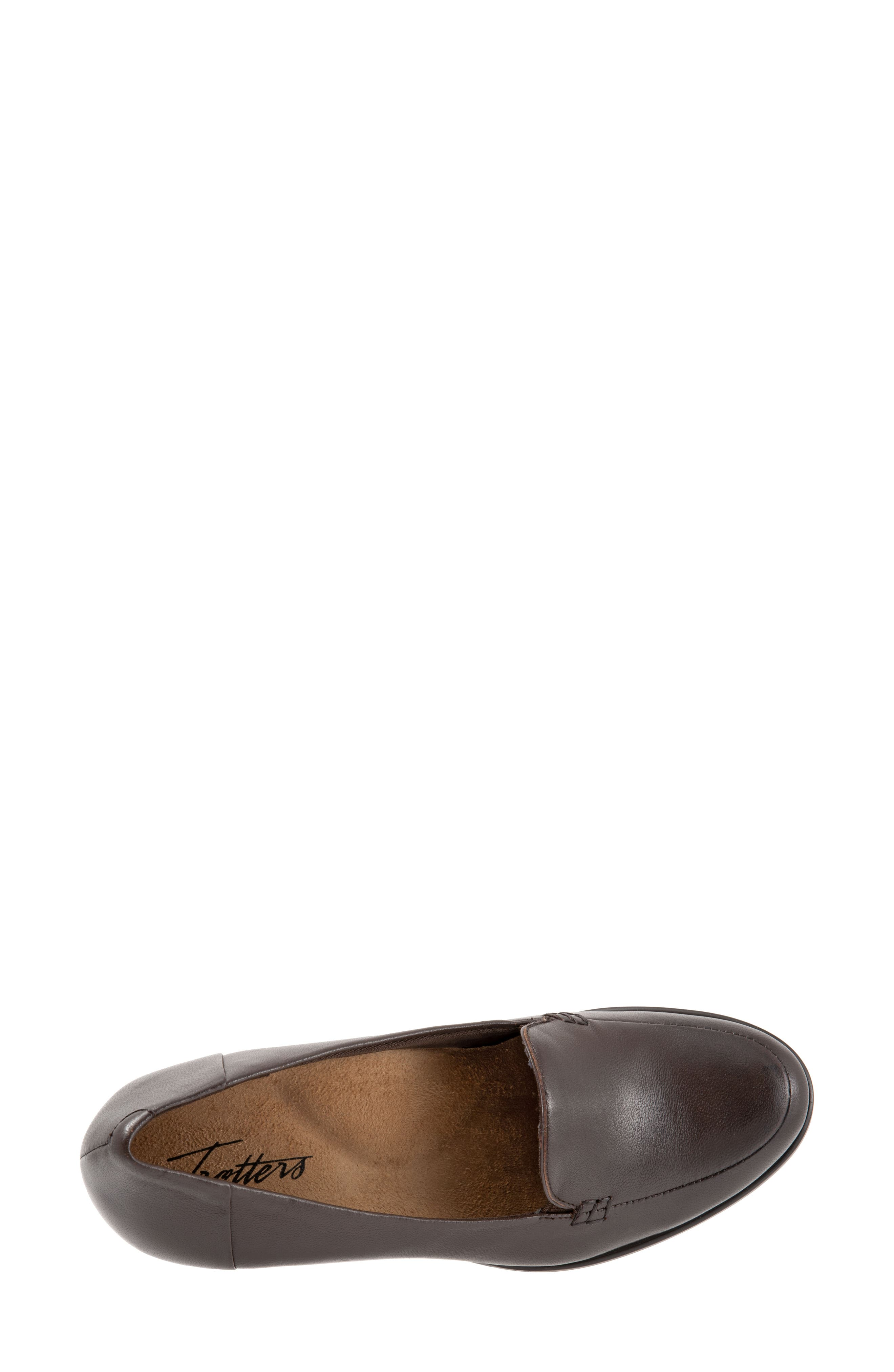Quincy Loafer Pump,                             Alternate thumbnail 5, color,                             DARK BROWN LEATHER