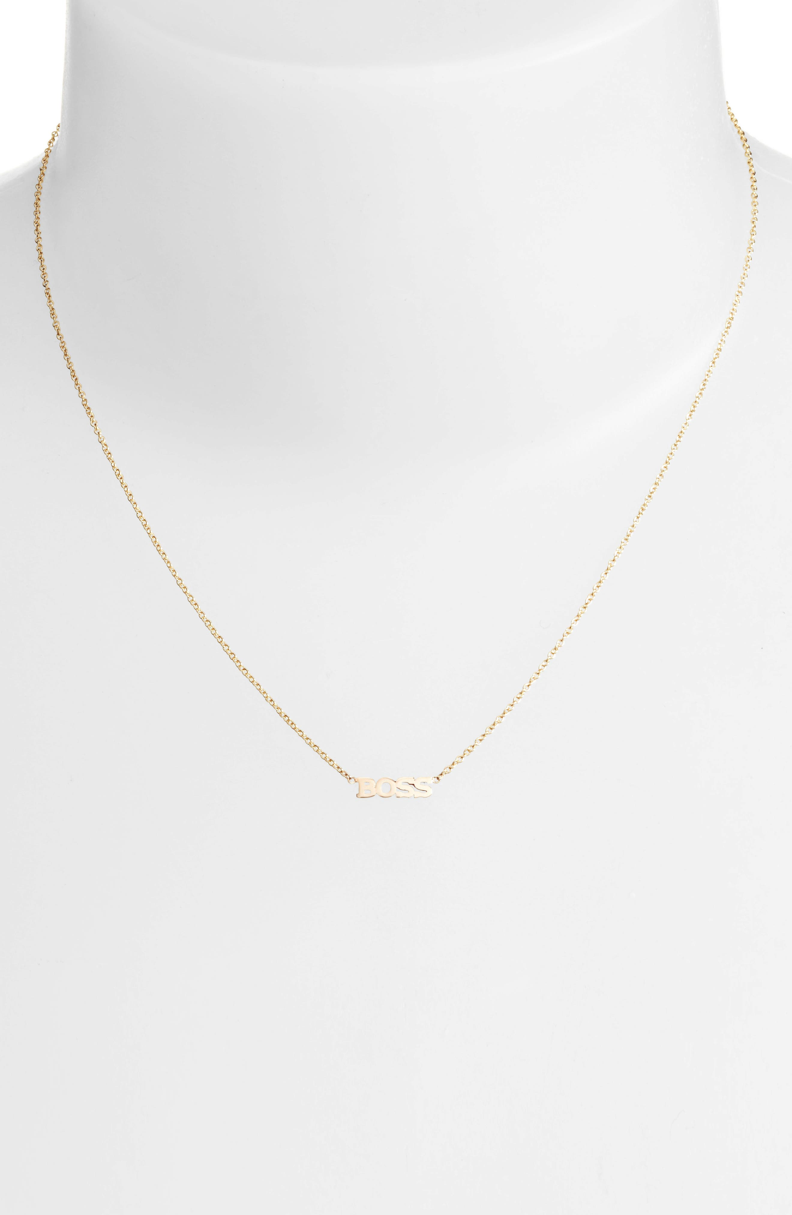 Itty Bitty Typographical Pendant Necklace,                             Alternate thumbnail 2, color,                             YELLOW GOLD/ GOLD